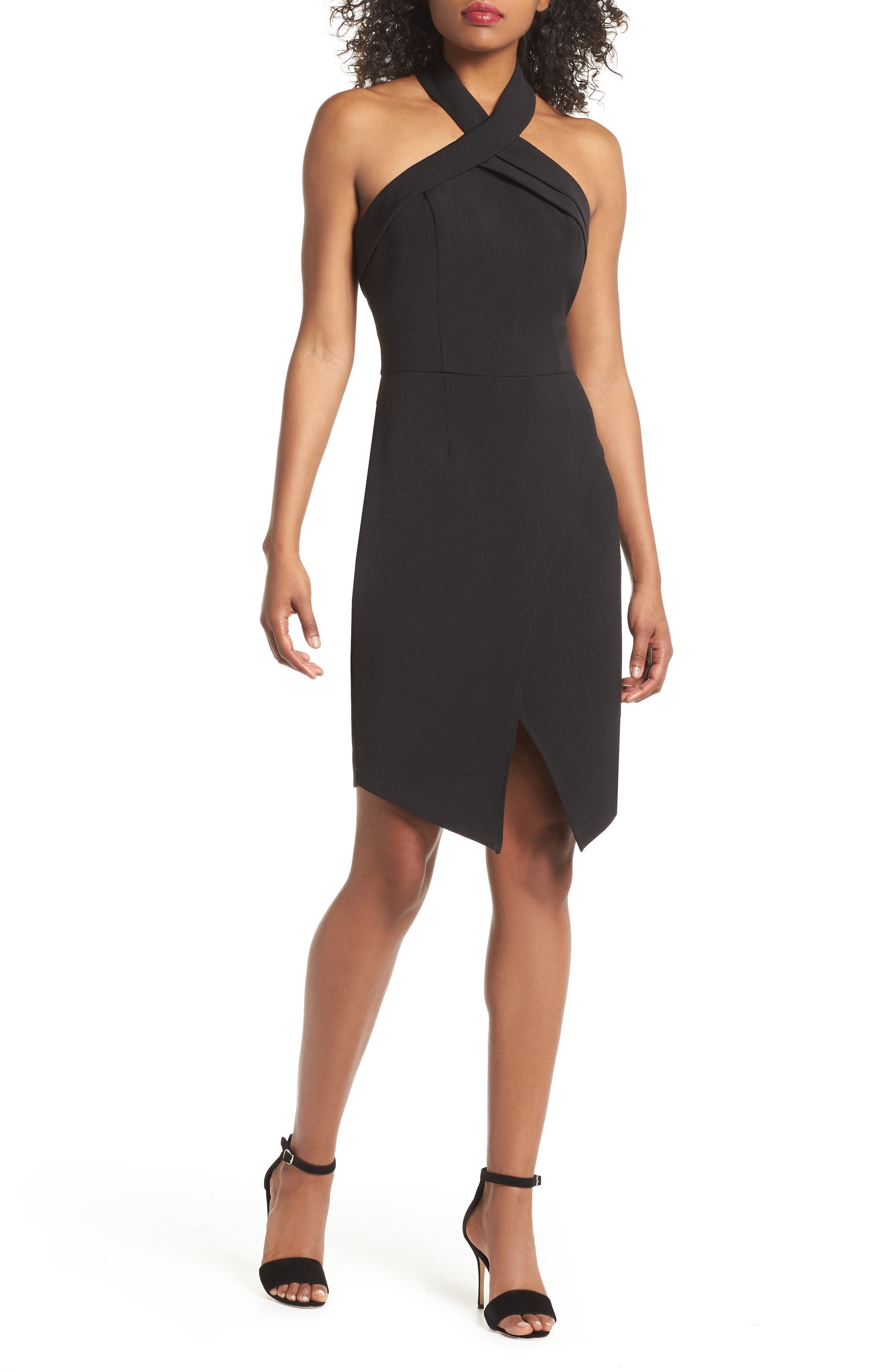 Halter Asymmetrical Sheath Dress,                         Main,                         color, Black