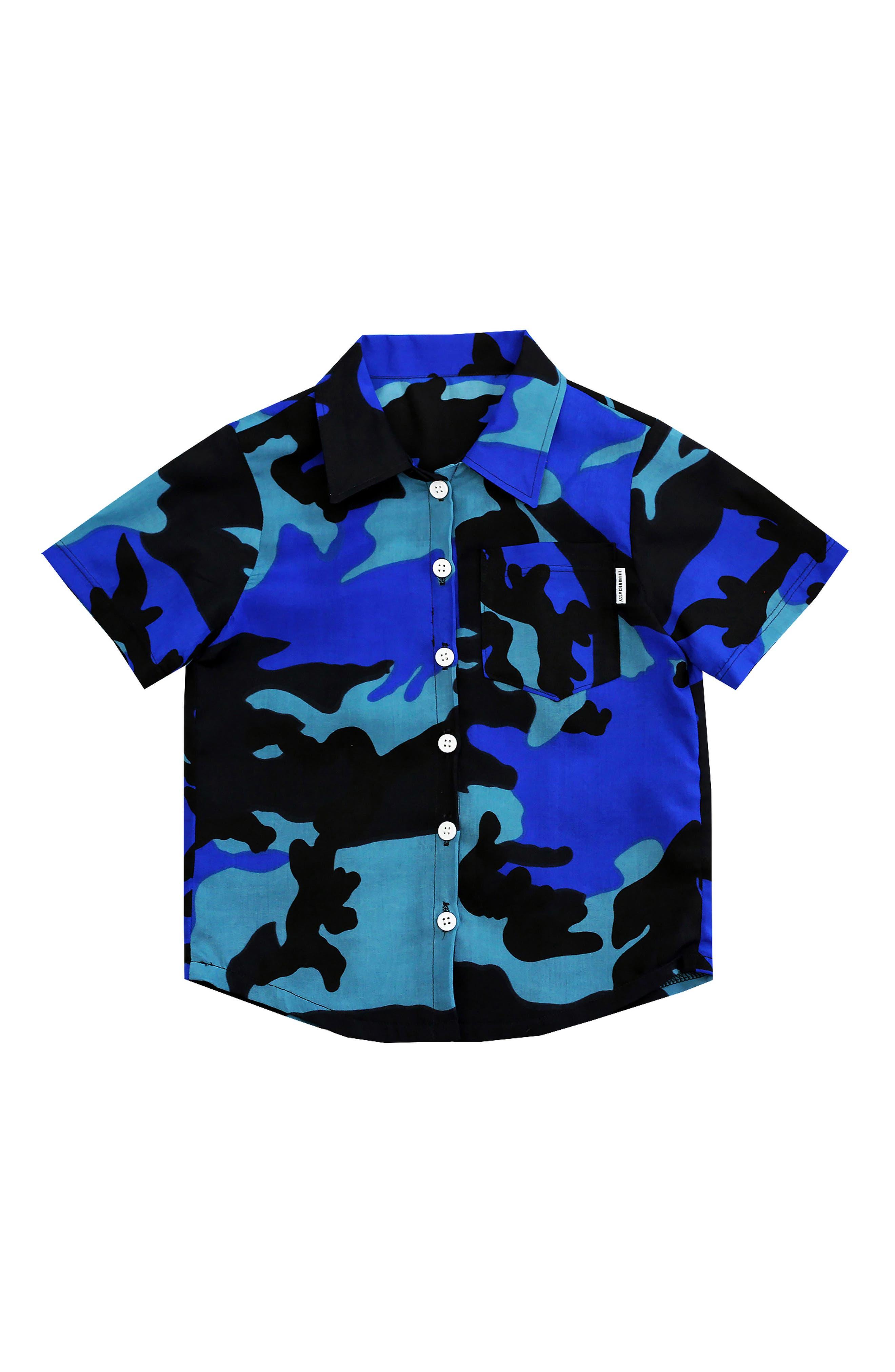 Blue Camo Woven Shirt,                         Main,                         color, Blue/ Black