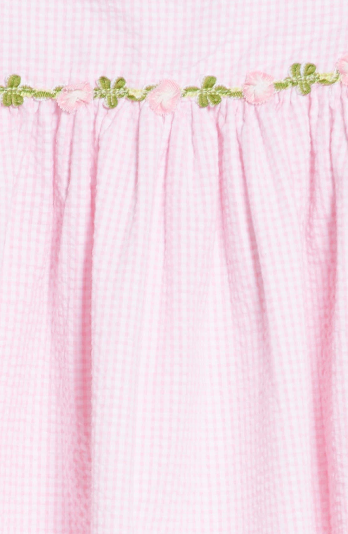 Seersucker Ruffle Sleeve Dress,                             Alternate thumbnail 3, color,                             Pink/ White