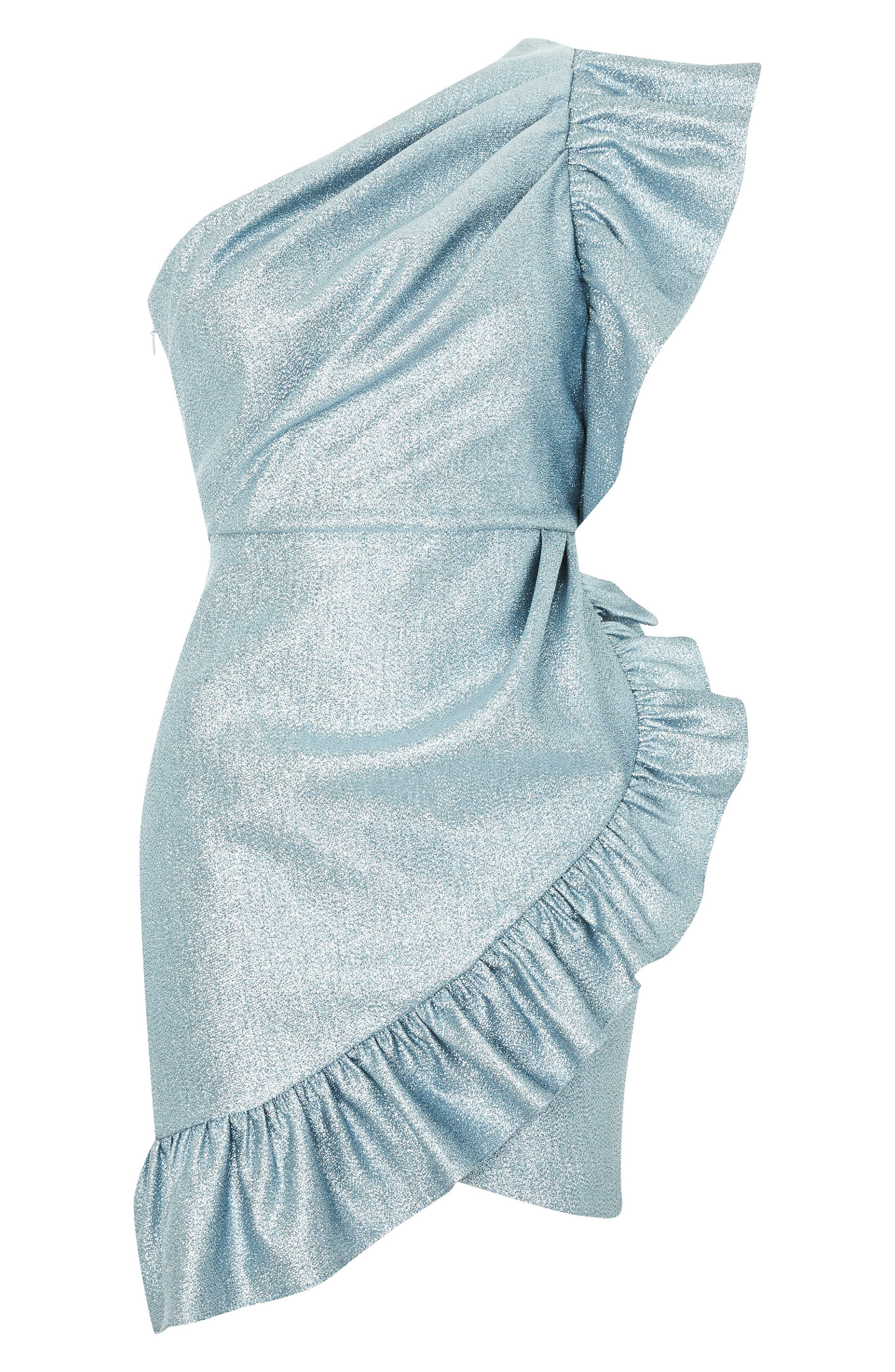 One-Shoulder Ruffle Minidress,                             Alternate thumbnail 8, color,                             Blue