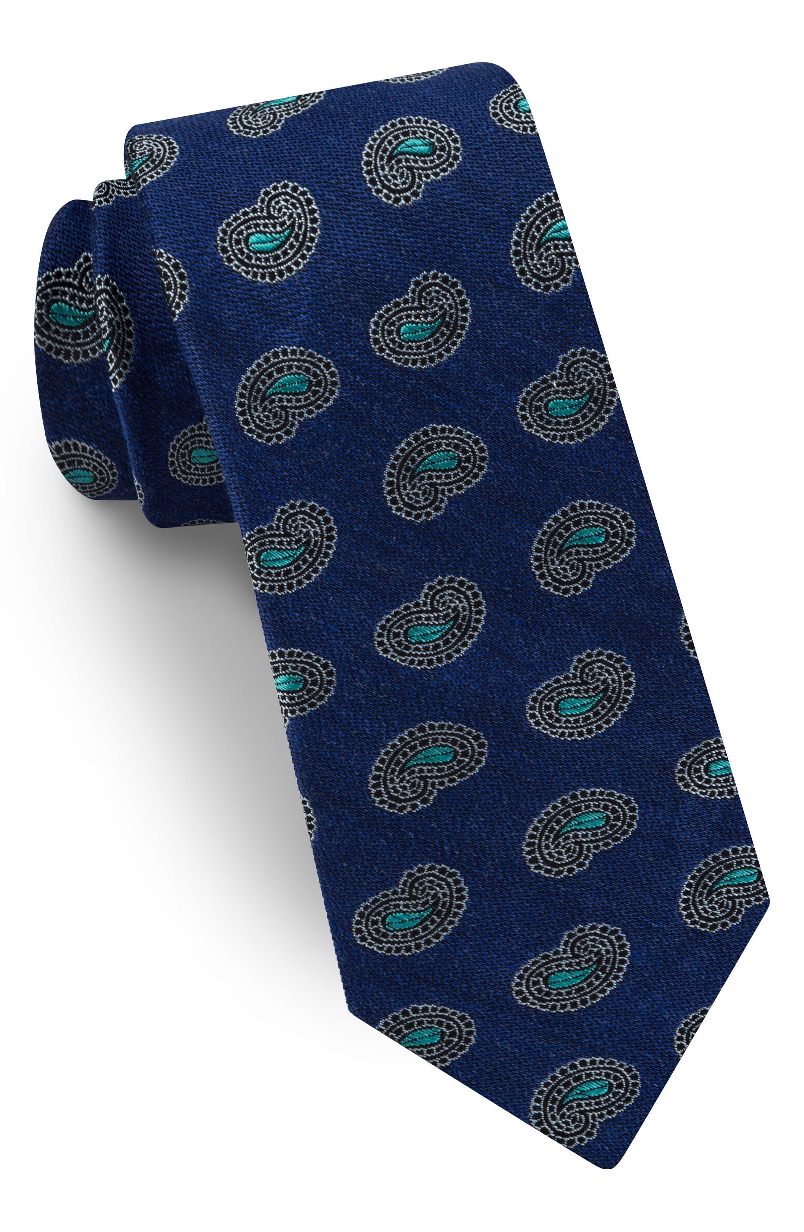 Paisley Silk & Linen Tie,                         Main,                         color, Navy