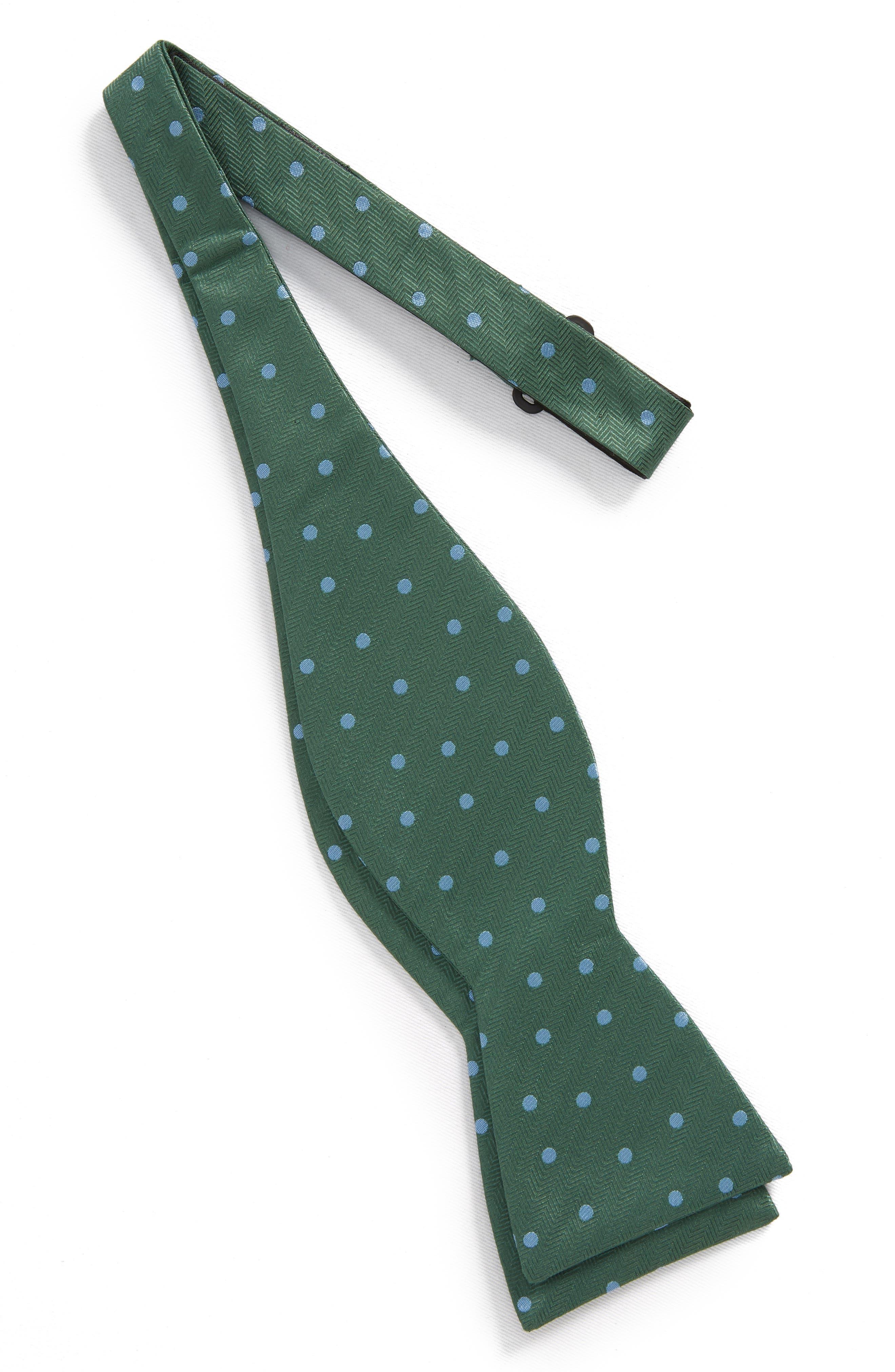 Jackson Dot Silk Bow Tie,                             Alternate thumbnail 2, color,                             Kelly Green