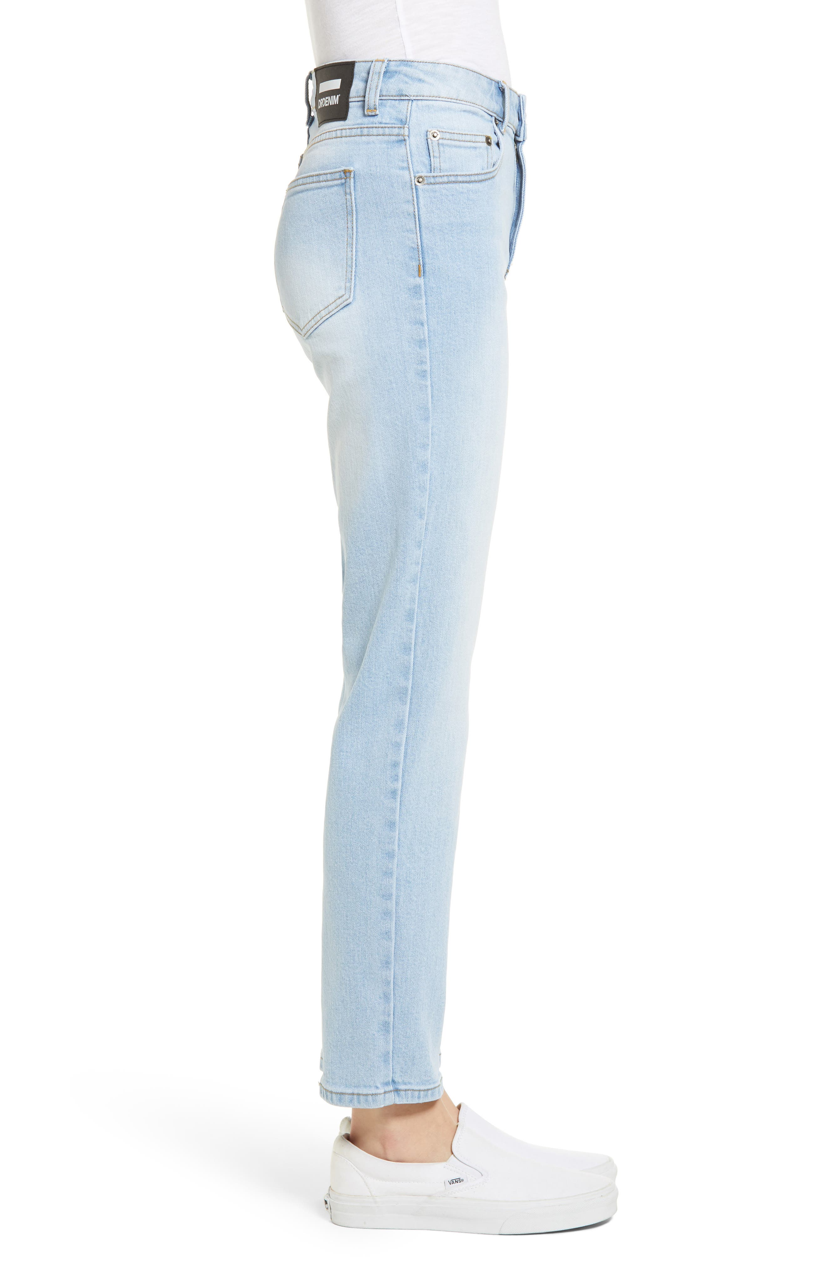 Edie High Waist Crop Straight Leg Jeans,                             Alternate thumbnail 3, color,                             Shaded Light Blue