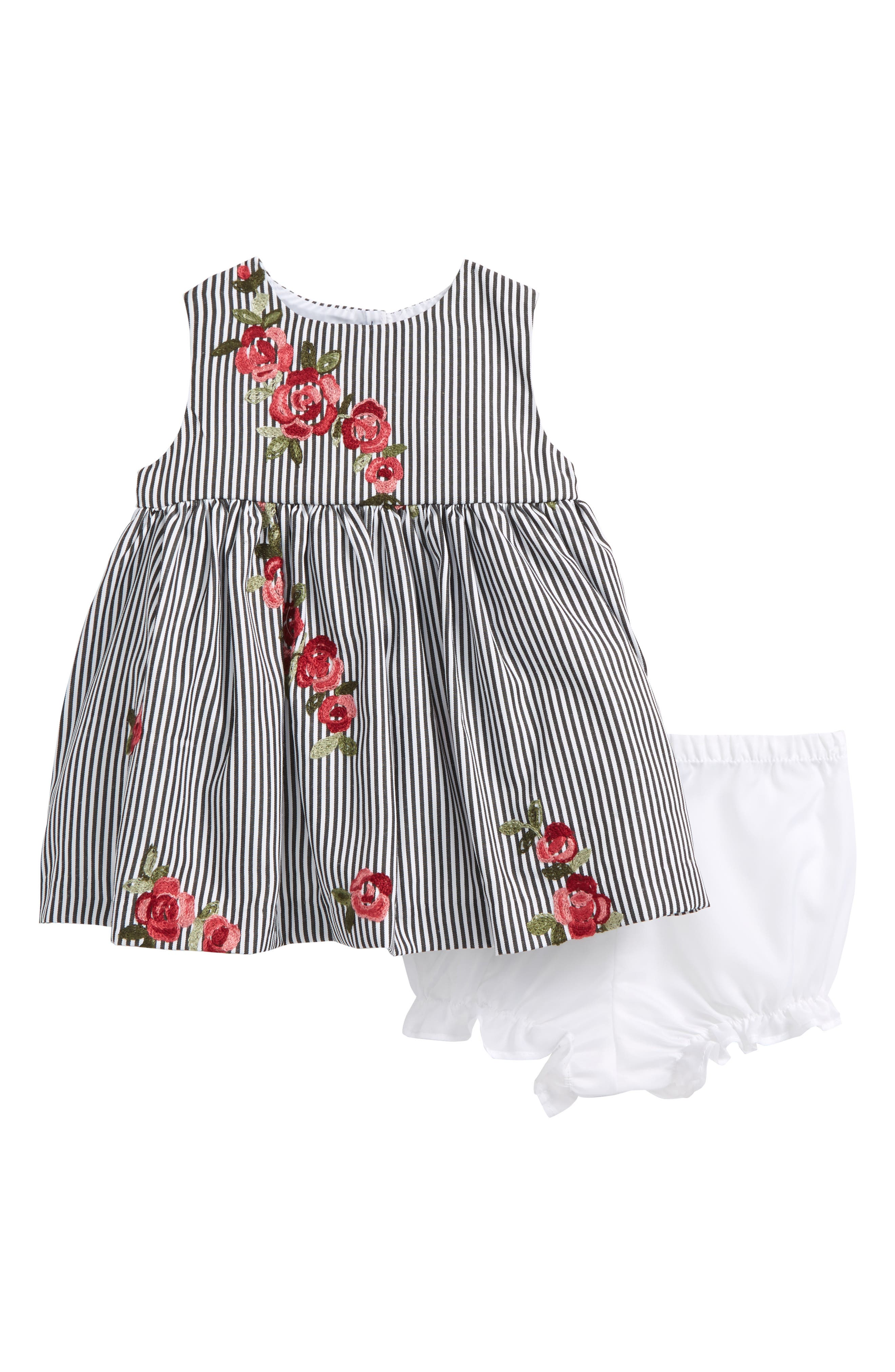Embroidered Dress,                         Main,                         color, Black / White