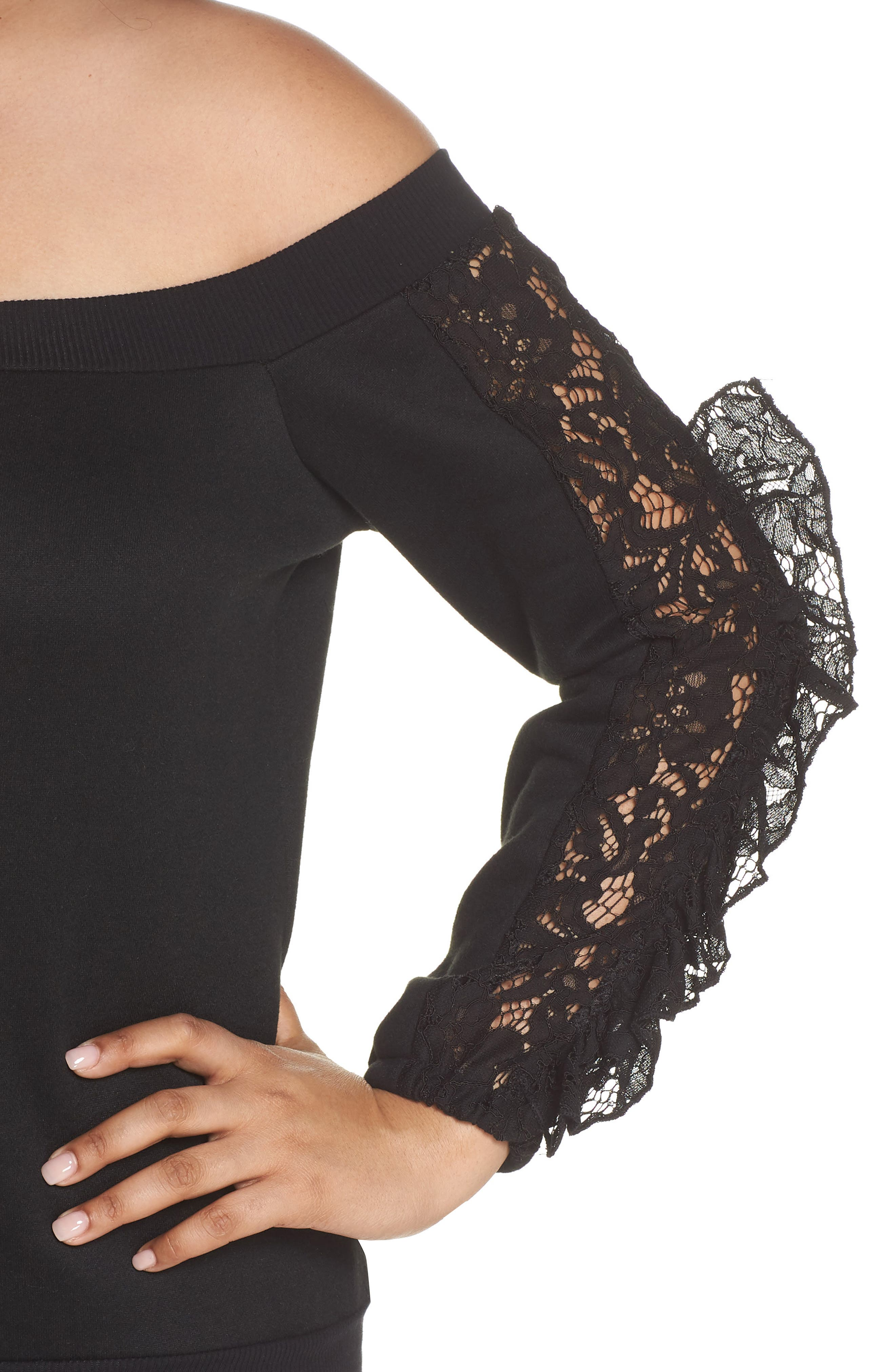 Lace Ruffle Sleeve Off the Shoulder Sweatshirt,                             Alternate thumbnail 4, color,                             Black