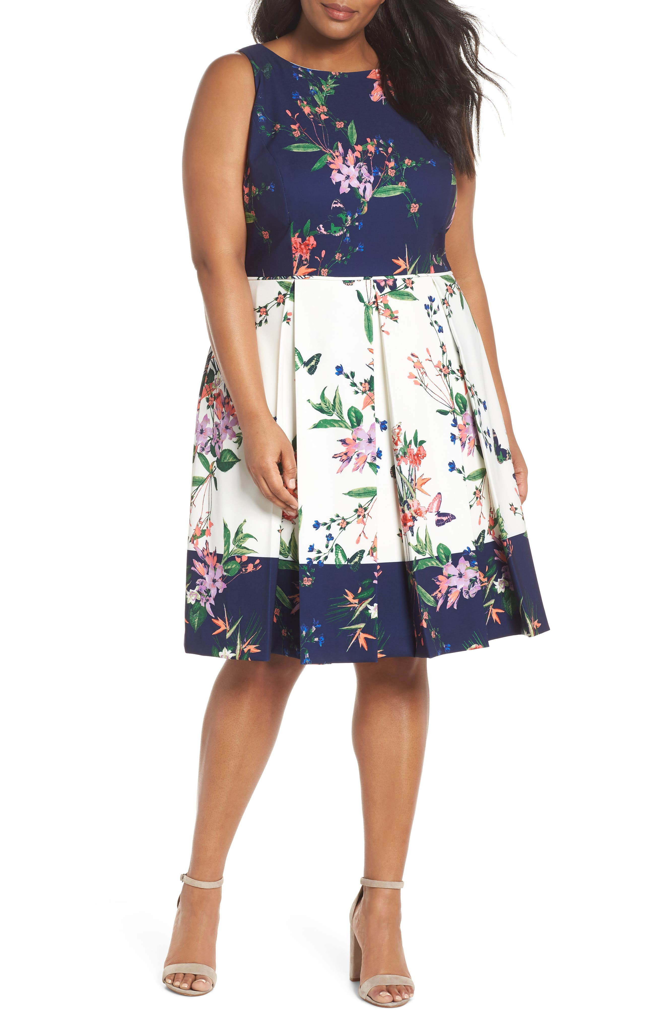 Colorblock Floral Crepe Fit & Flare Dress,                             Main thumbnail 1, color,                             Ivory/ Navy/ Coral