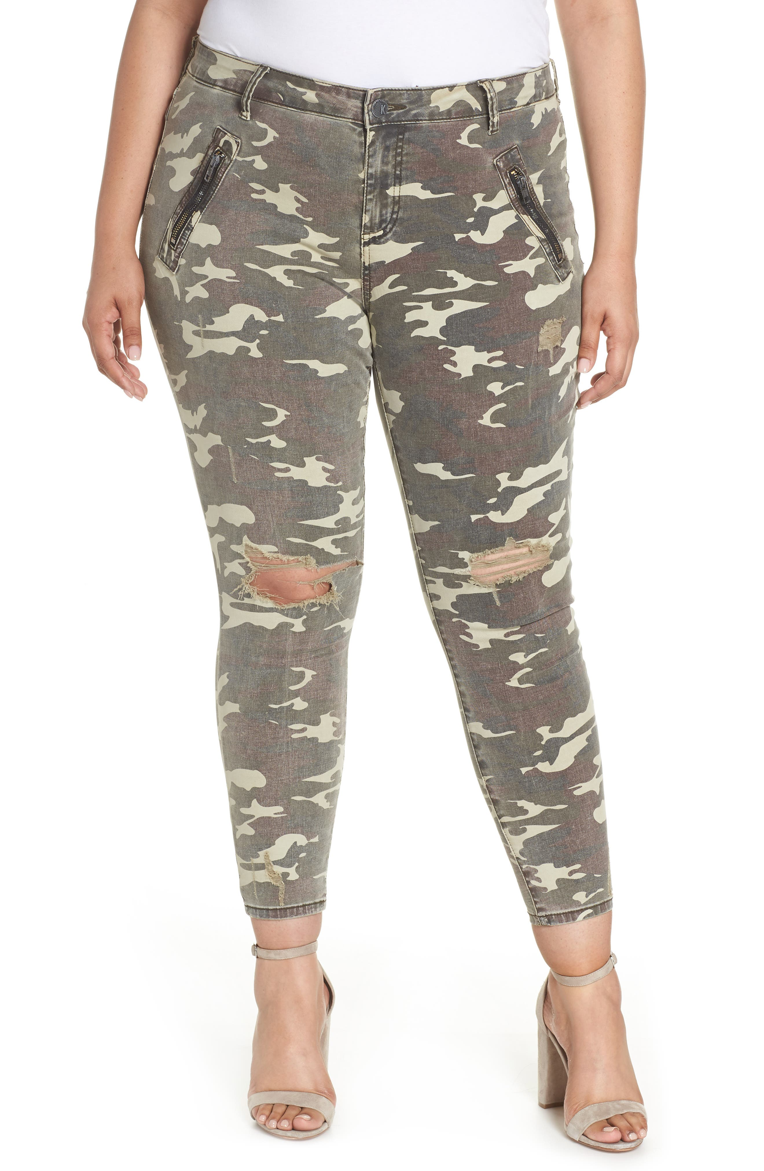 KUT from the Kloth Connie High Waist Ankle Skinny Jeans (Olive) (Plus Size)