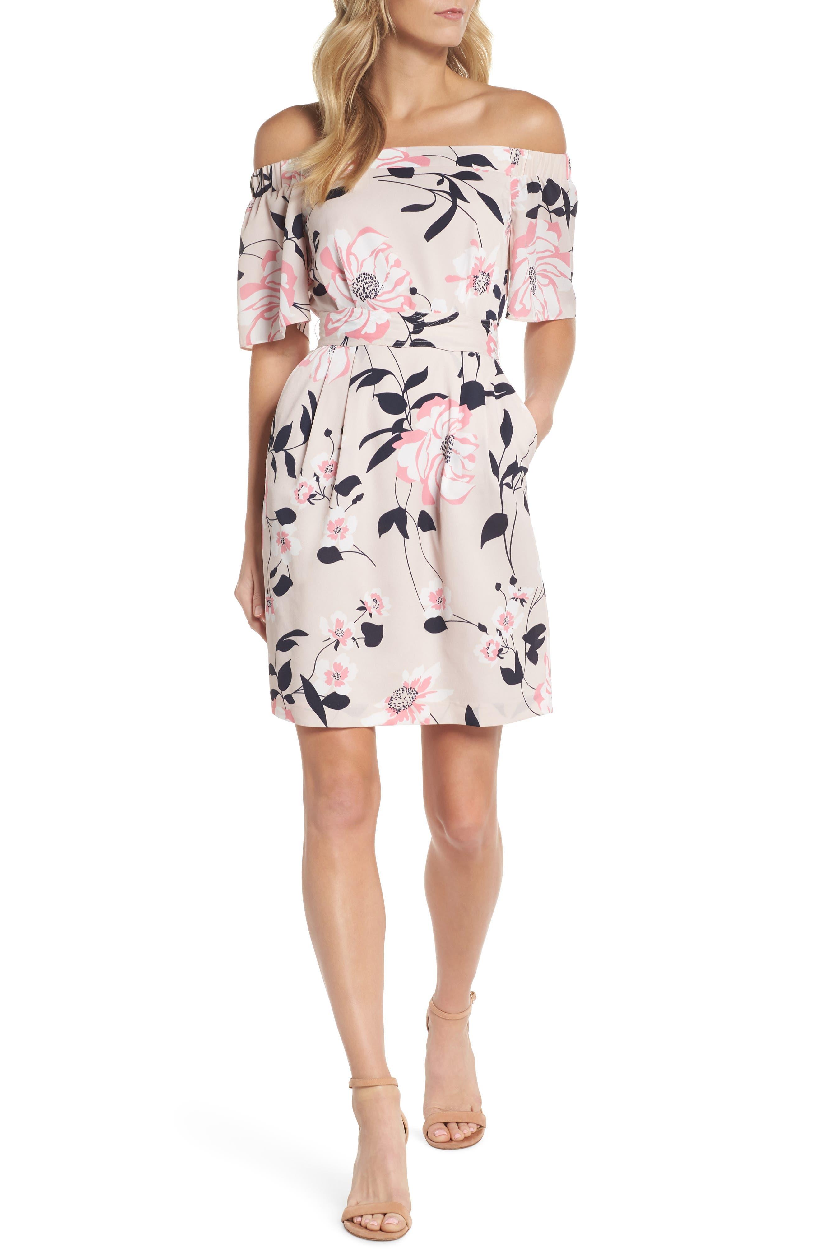 Off the Shoulder Obi Dress,                         Main,                         color, Pink