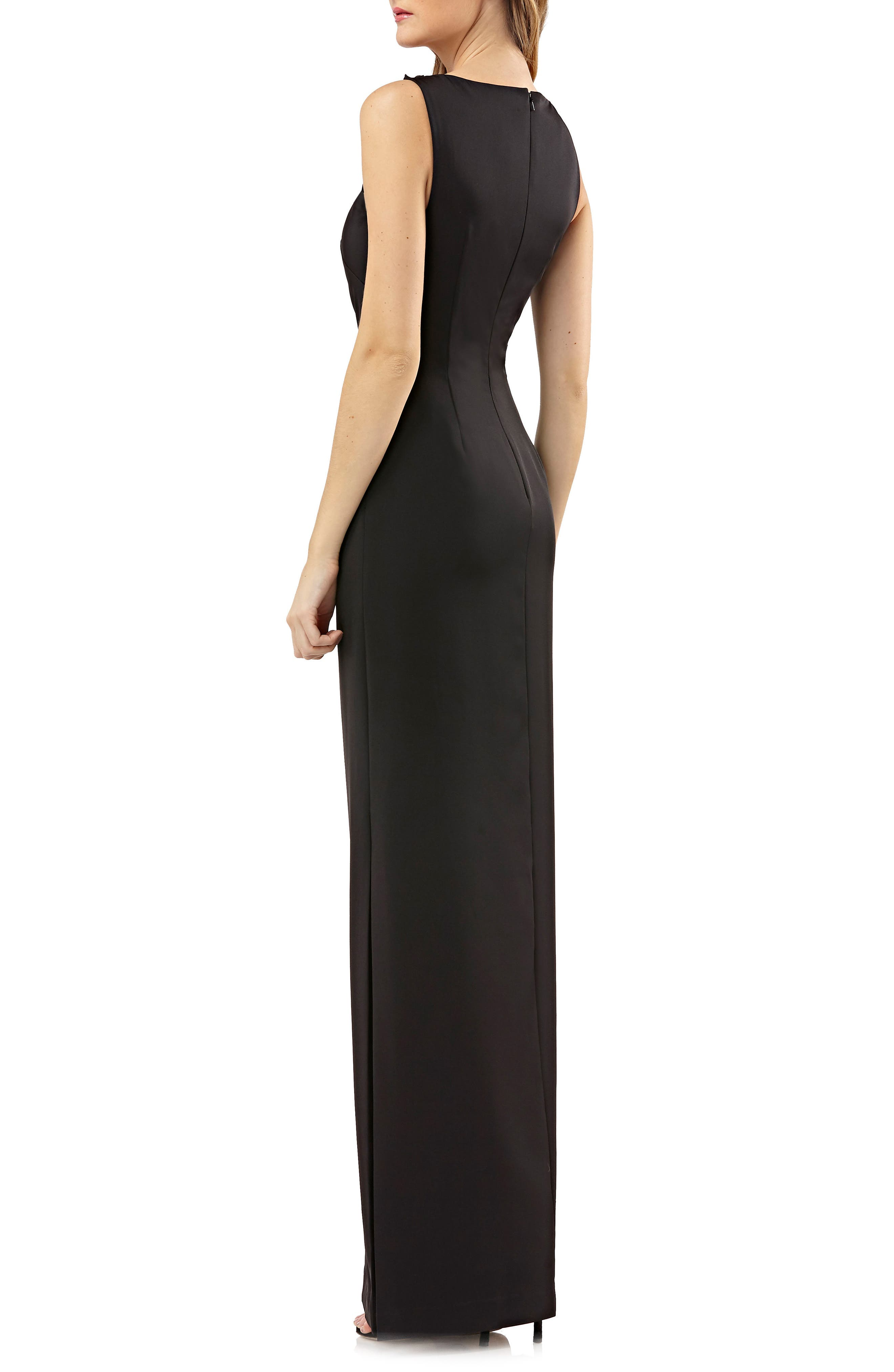Sleeveless Stretch Crepe Gown,                             Alternate thumbnail 2, color,                             Black