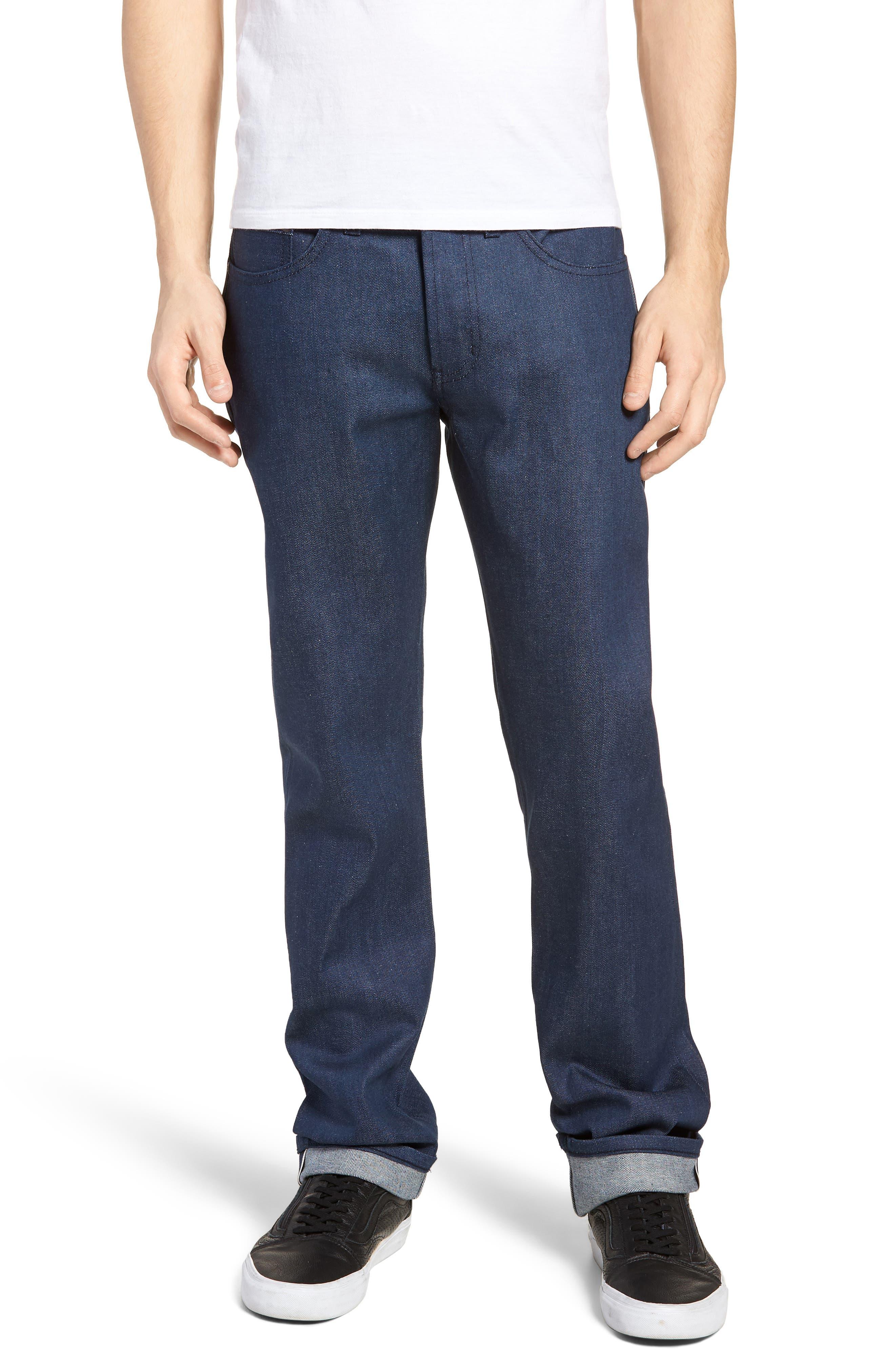 Weird Guy Slim Fit Jeans,                             Main thumbnail 1, color,                             Workmans Blue