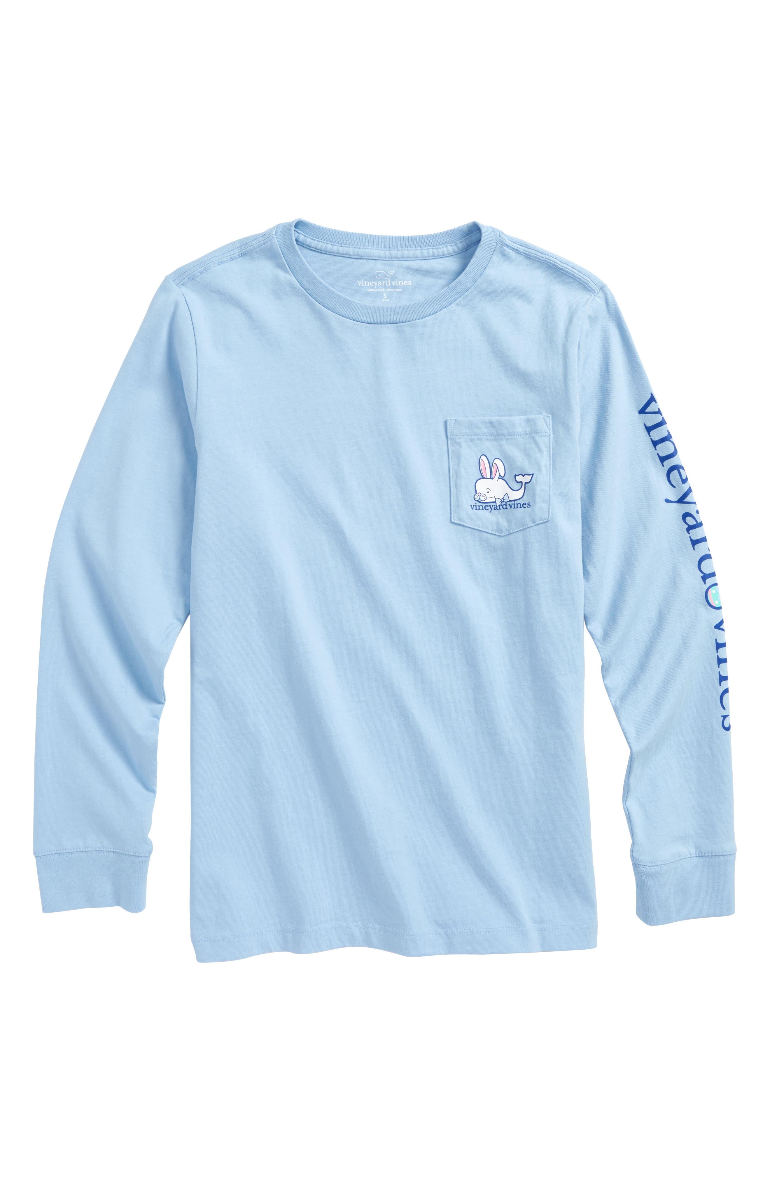 Easter Bunny Whale Pocket T-Shirt,                             Main thumbnail 1, color,                             Jake Blue