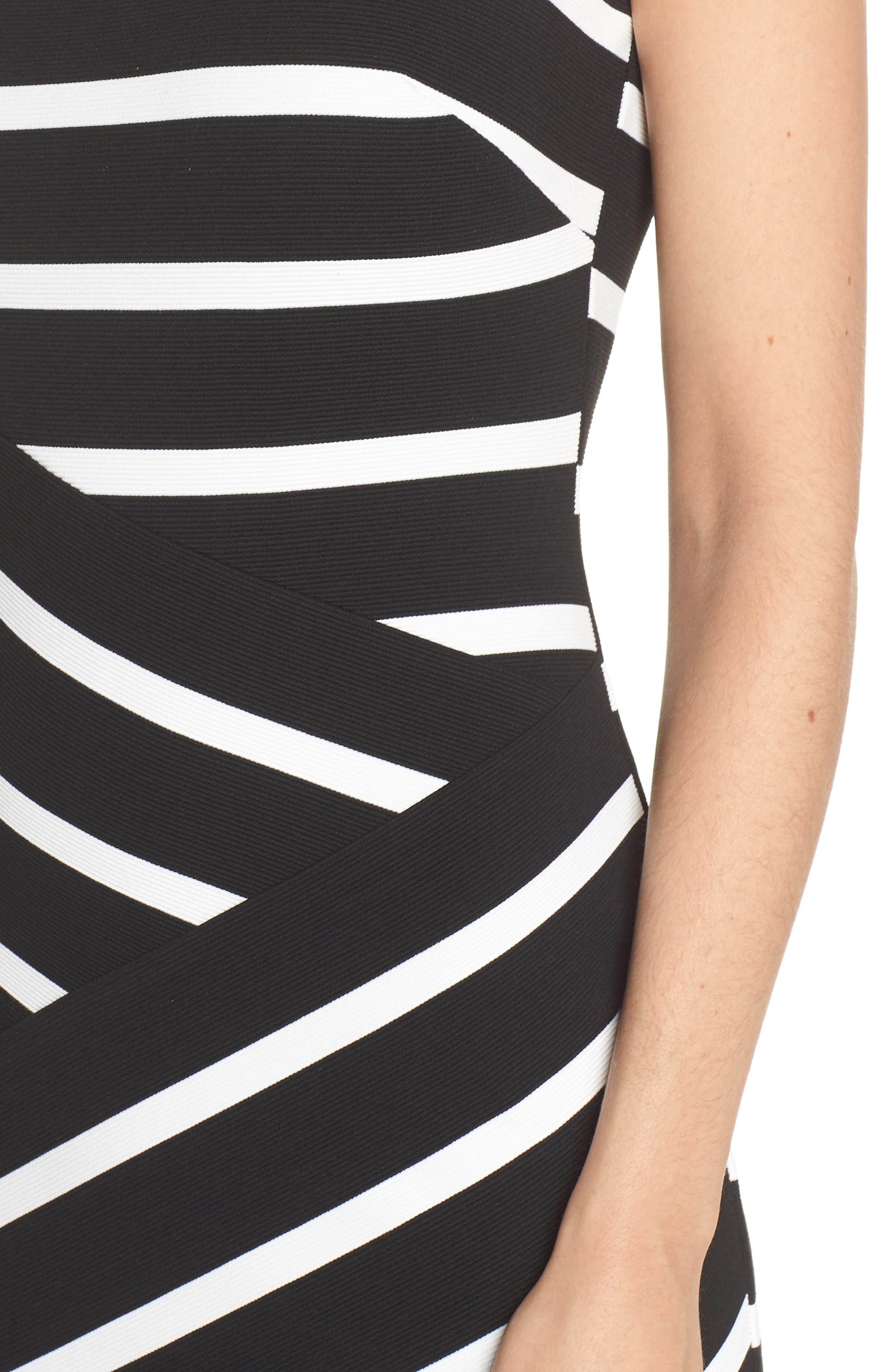 Stripe Ottoman Sheath Dress,                             Alternate thumbnail 4, color,                             Black/ Ivory