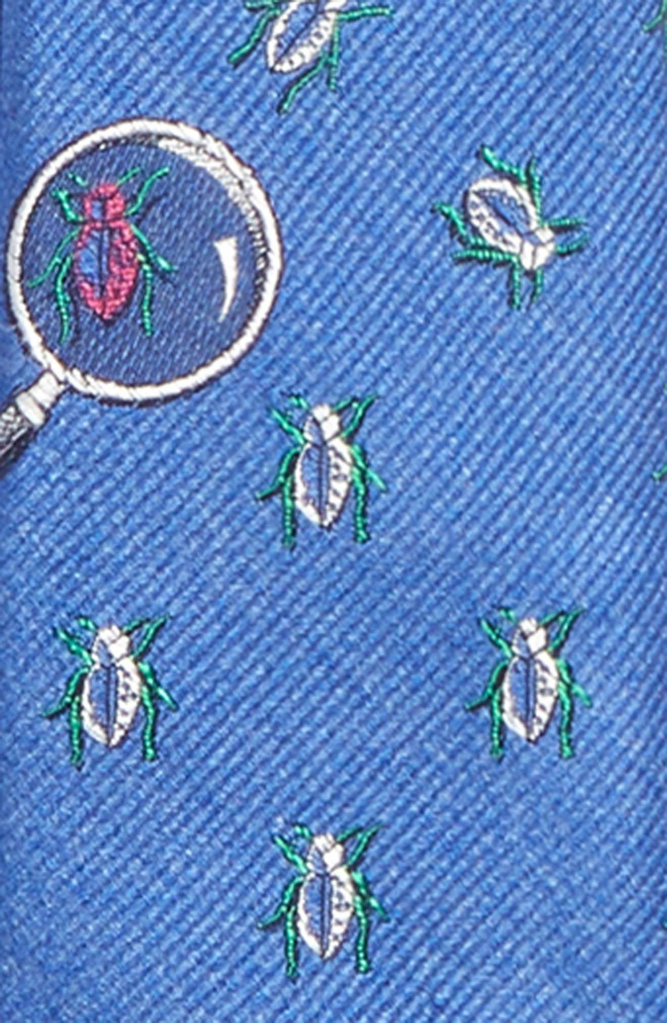 Beetle Observer Silk Tie,                             Alternate thumbnail 2, color,                             Blue