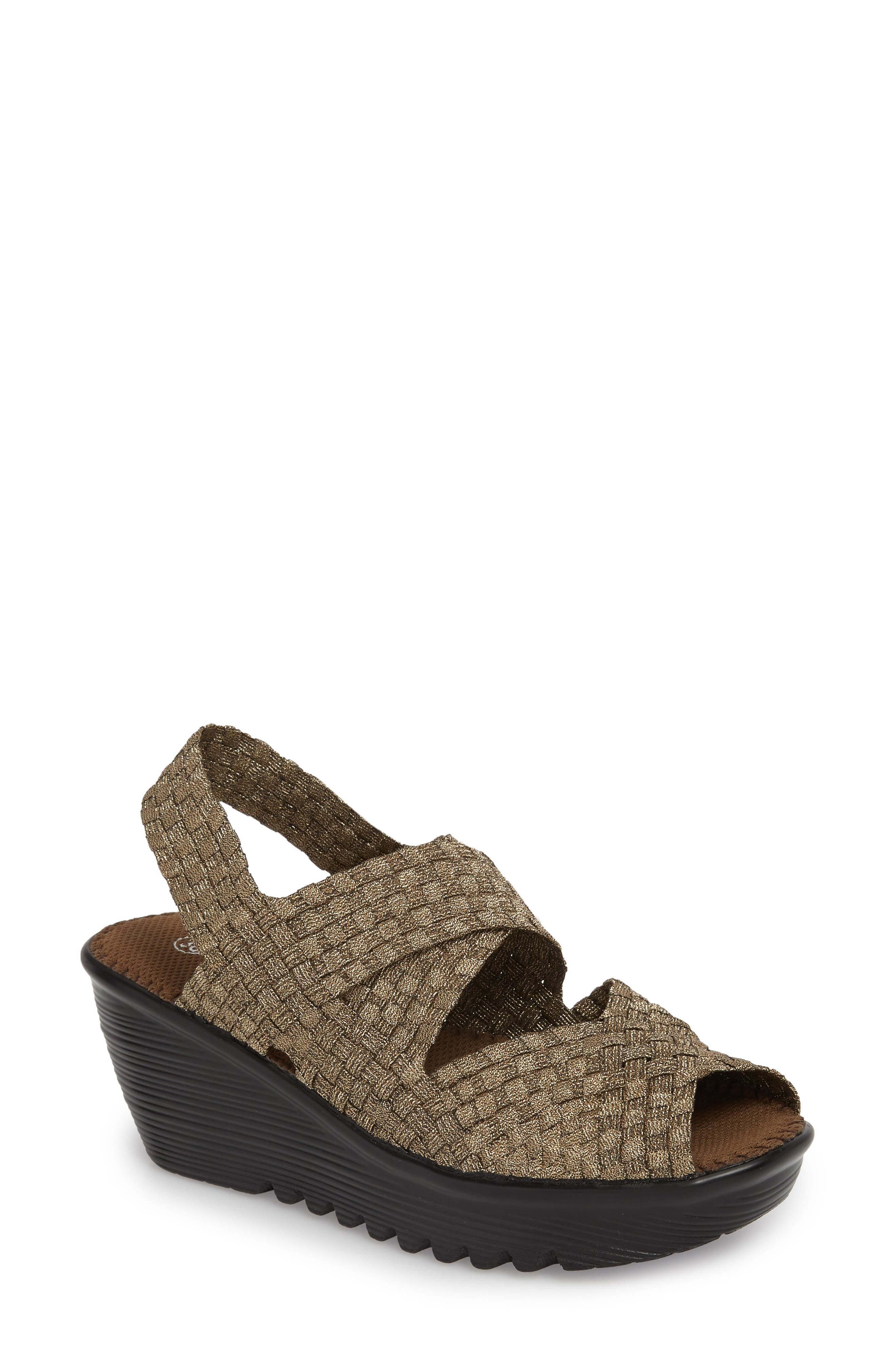 Jessica Wedge Sandal,                             Main thumbnail 1, color,                             Bronze Fabric