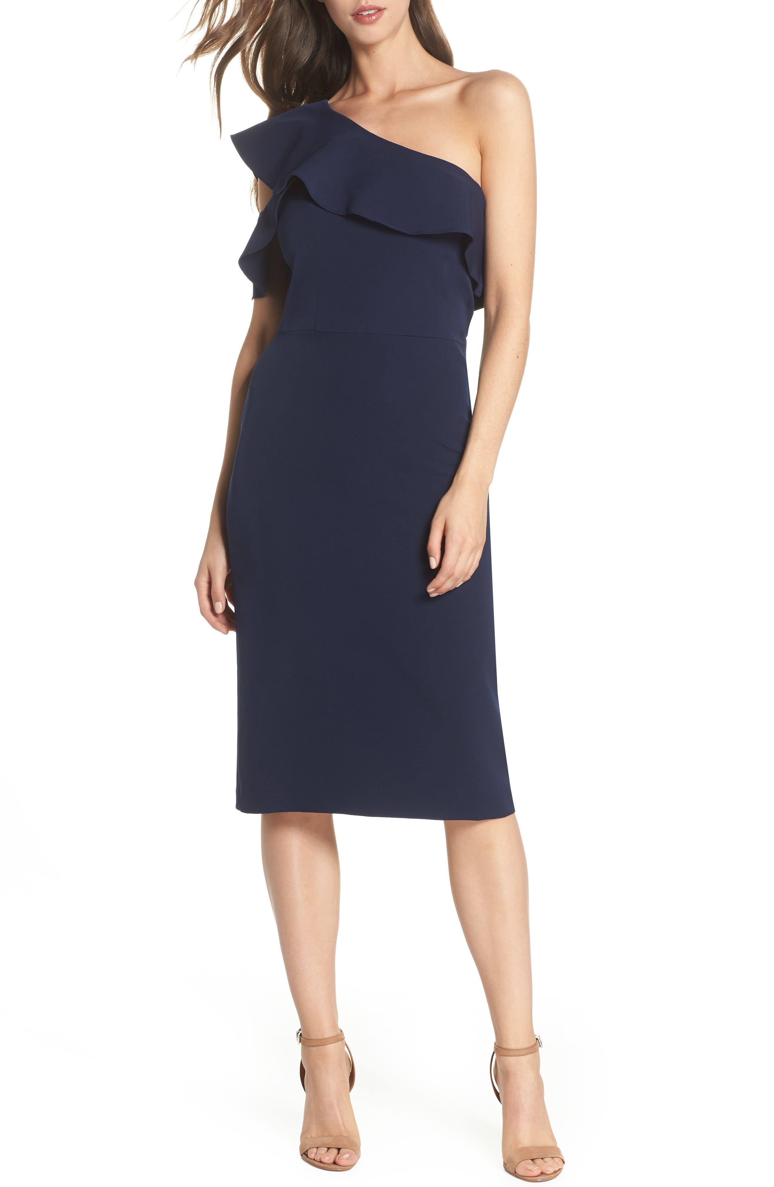 Dream One-Shoulder Crepe Ruffle Dress,                         Main,                         color, Navy