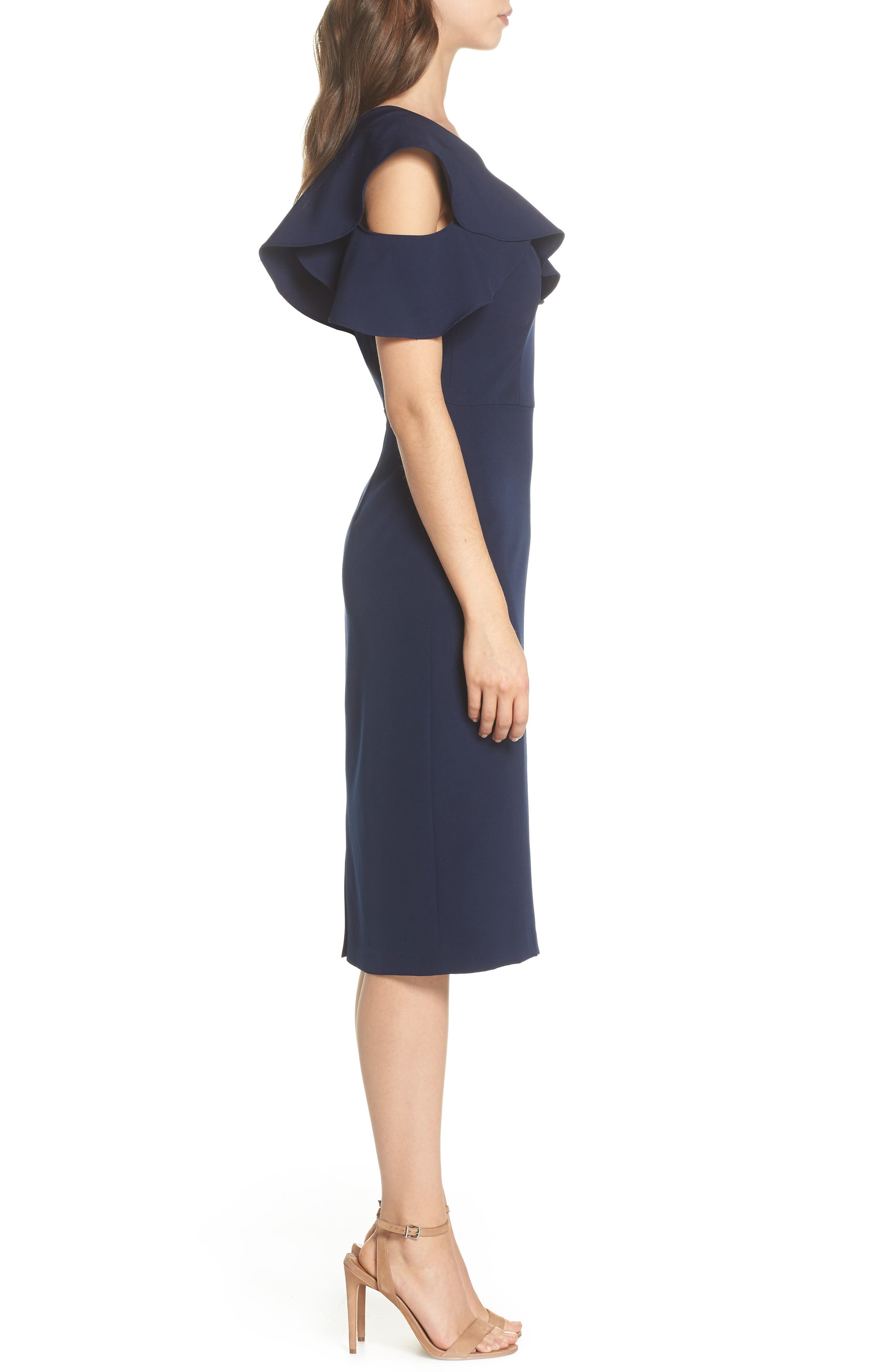 Dream One-Shoulder Crepe Ruffle Dress,                             Alternate thumbnail 3, color,                             Navy