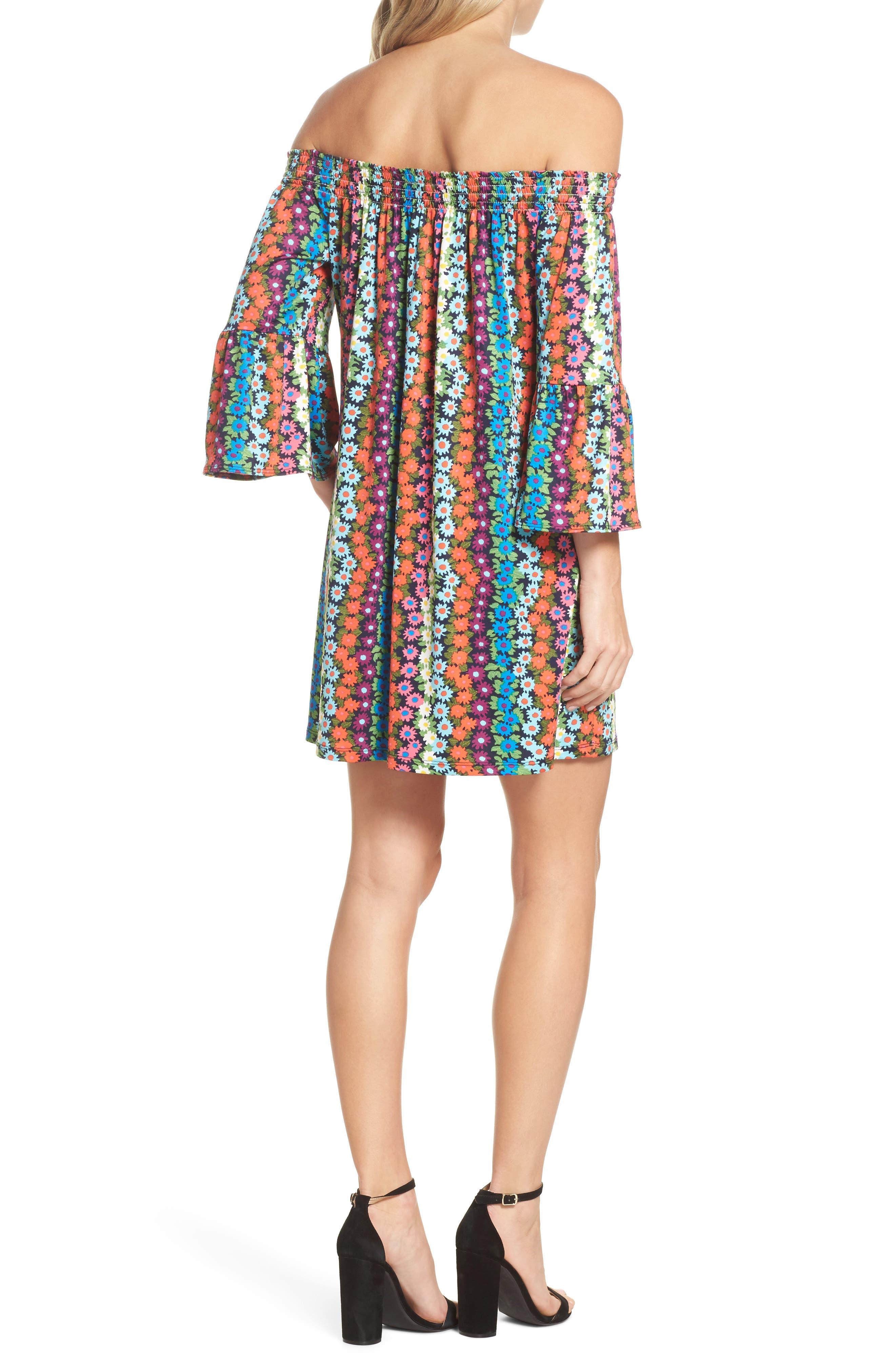 Trina Turk Off the Shoulder Bell Sleeve Dress,                             Alternate thumbnail 2, color,                             Multi