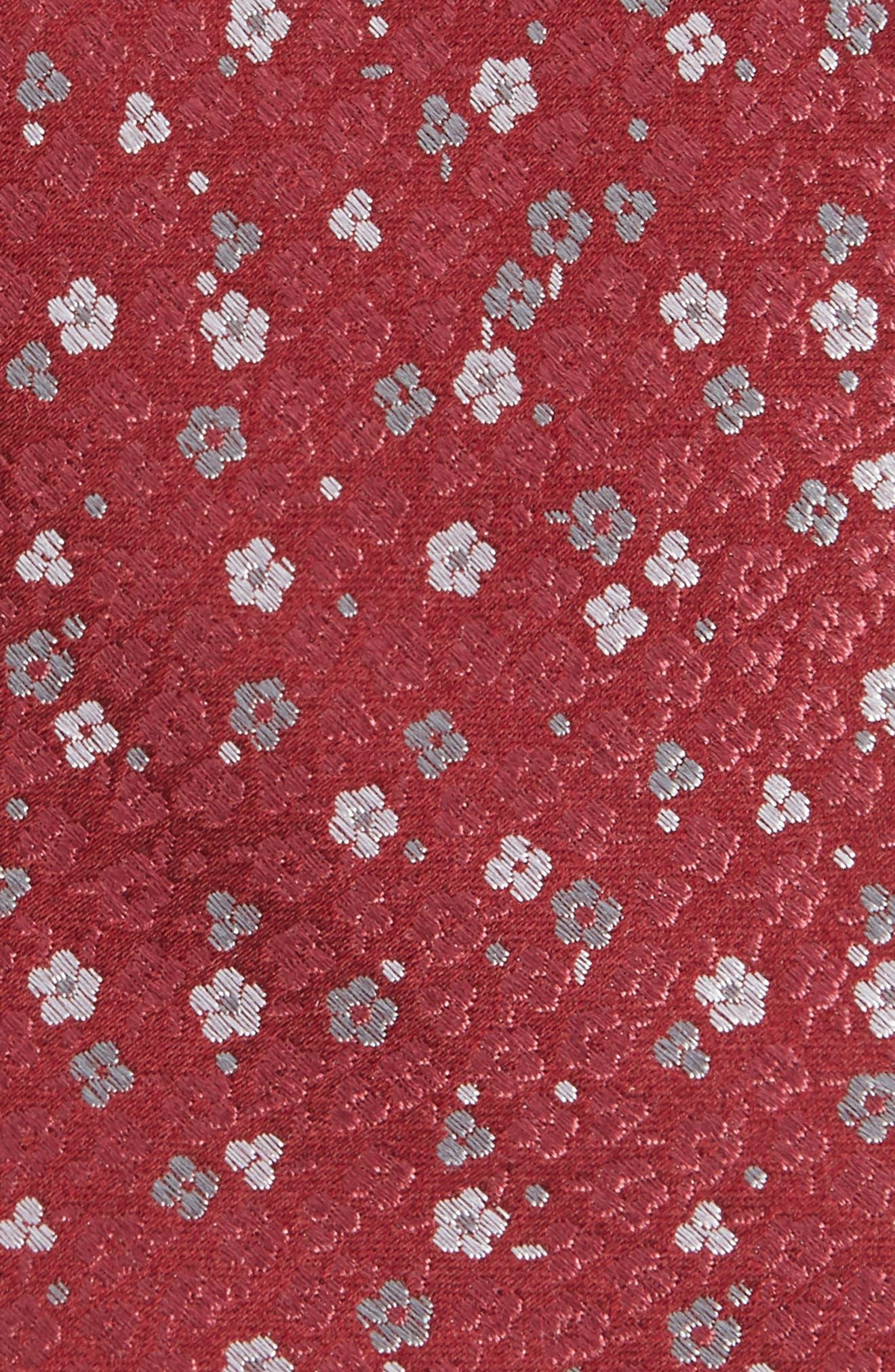 Flower Fields Silk Tie,                             Alternate thumbnail 2, color,                             Burgundy
