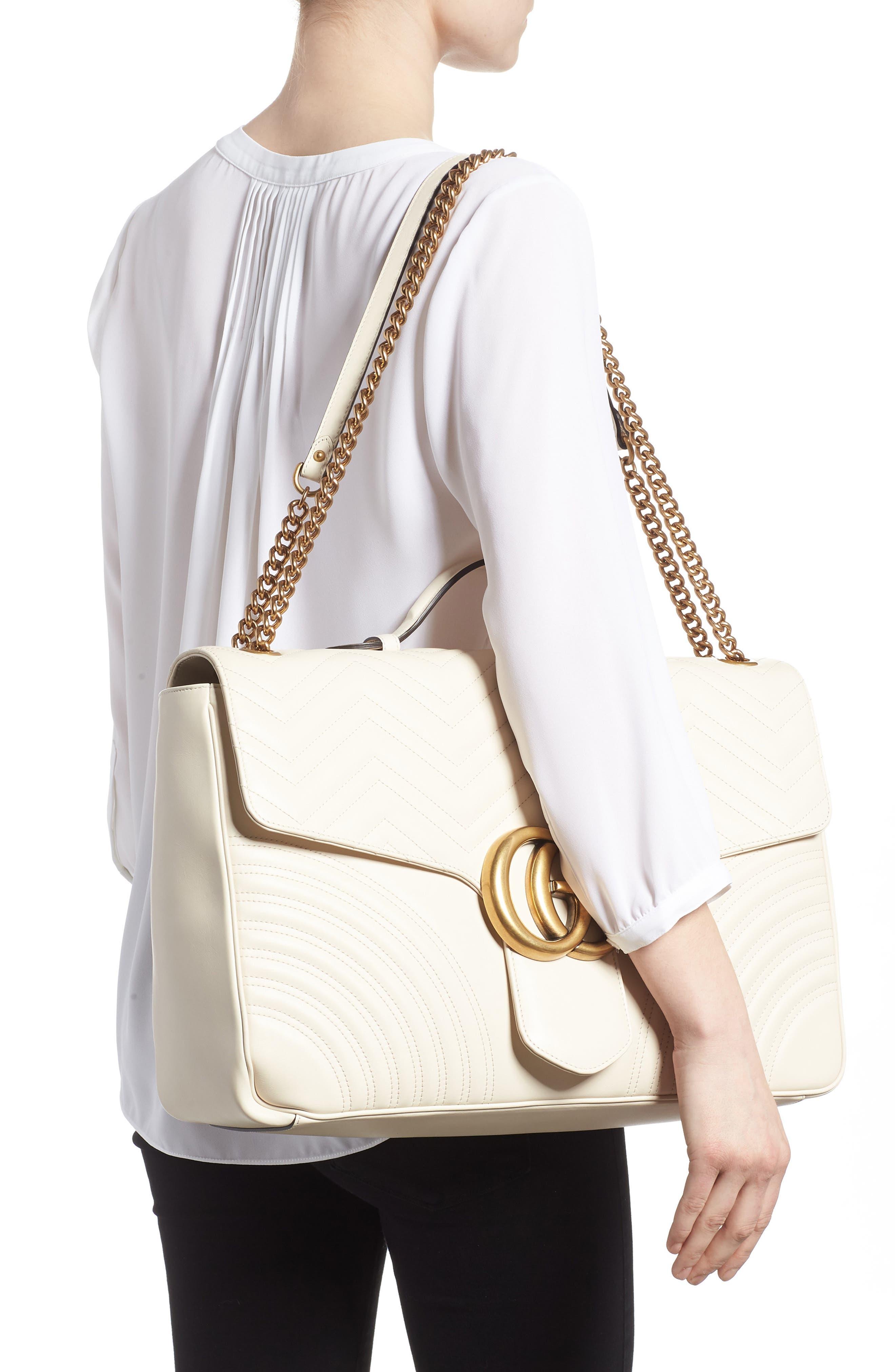GG Marmont Maxi Matelassé Top Handle Shoulder Bag,                             Alternate thumbnail 2, color,                             White