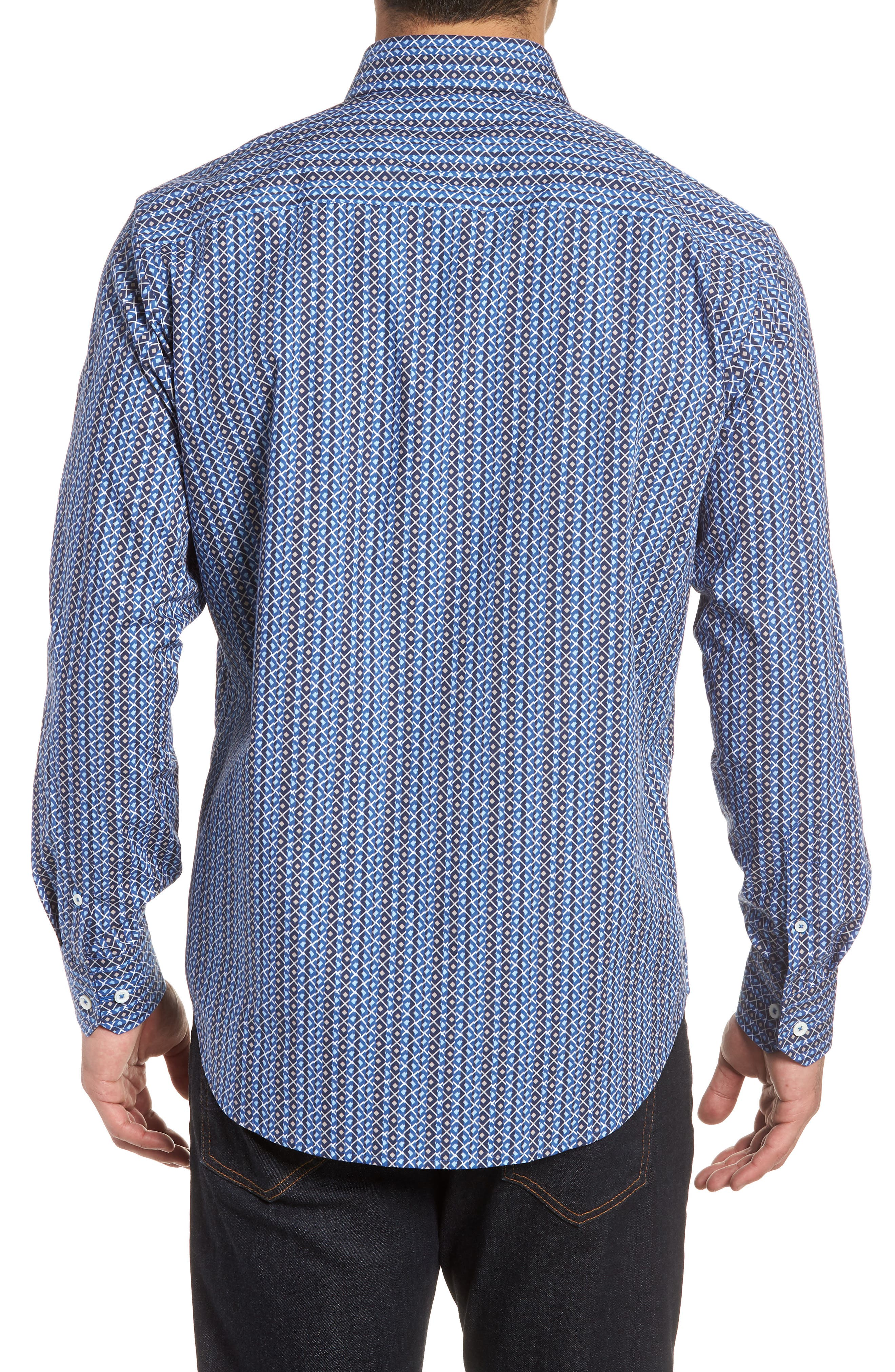 Classic Fit Print Sport Shirt,                             Alternate thumbnail 2, color,                             Classic Blue