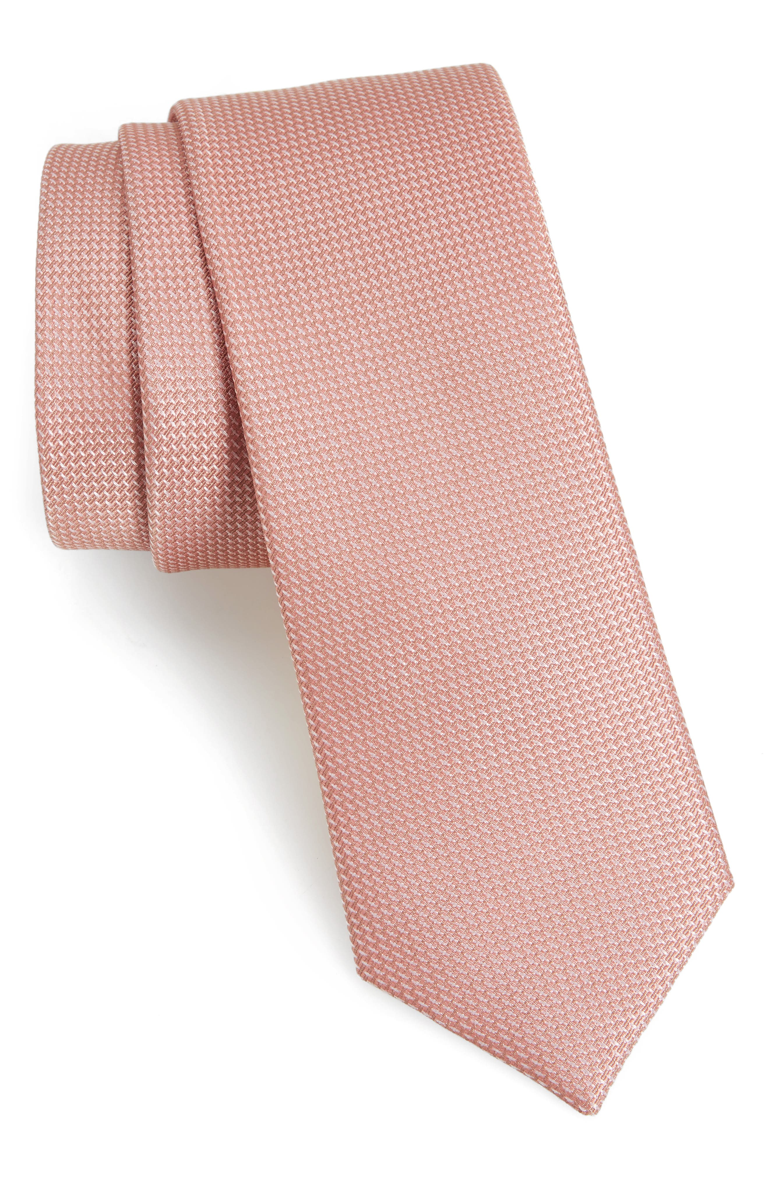 Union Solid Silk Tie,                         Main,                         color, Blush Pink