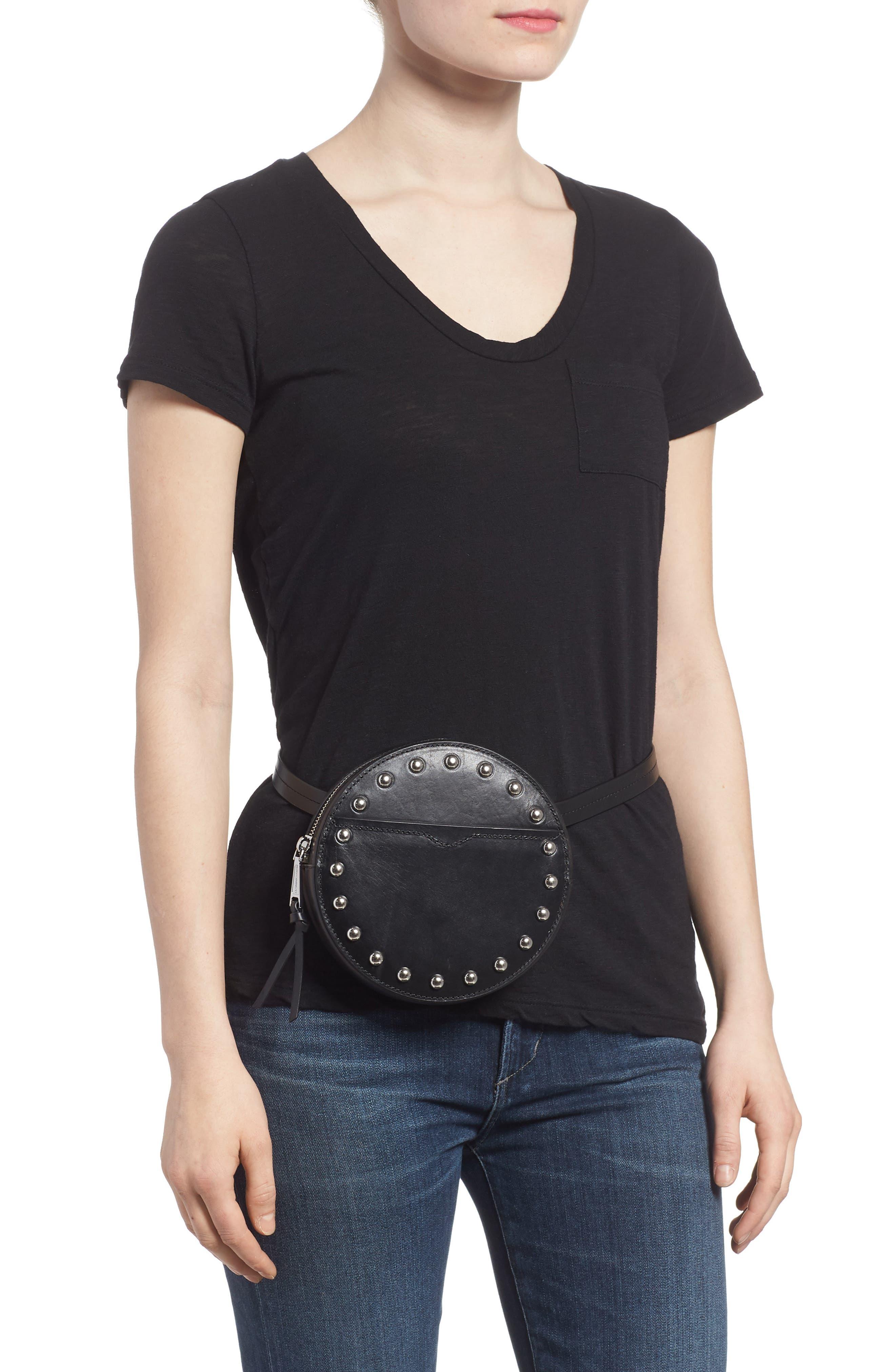 Studded Leather Belt Bag,                             Alternate thumbnail 2, color,                             Black