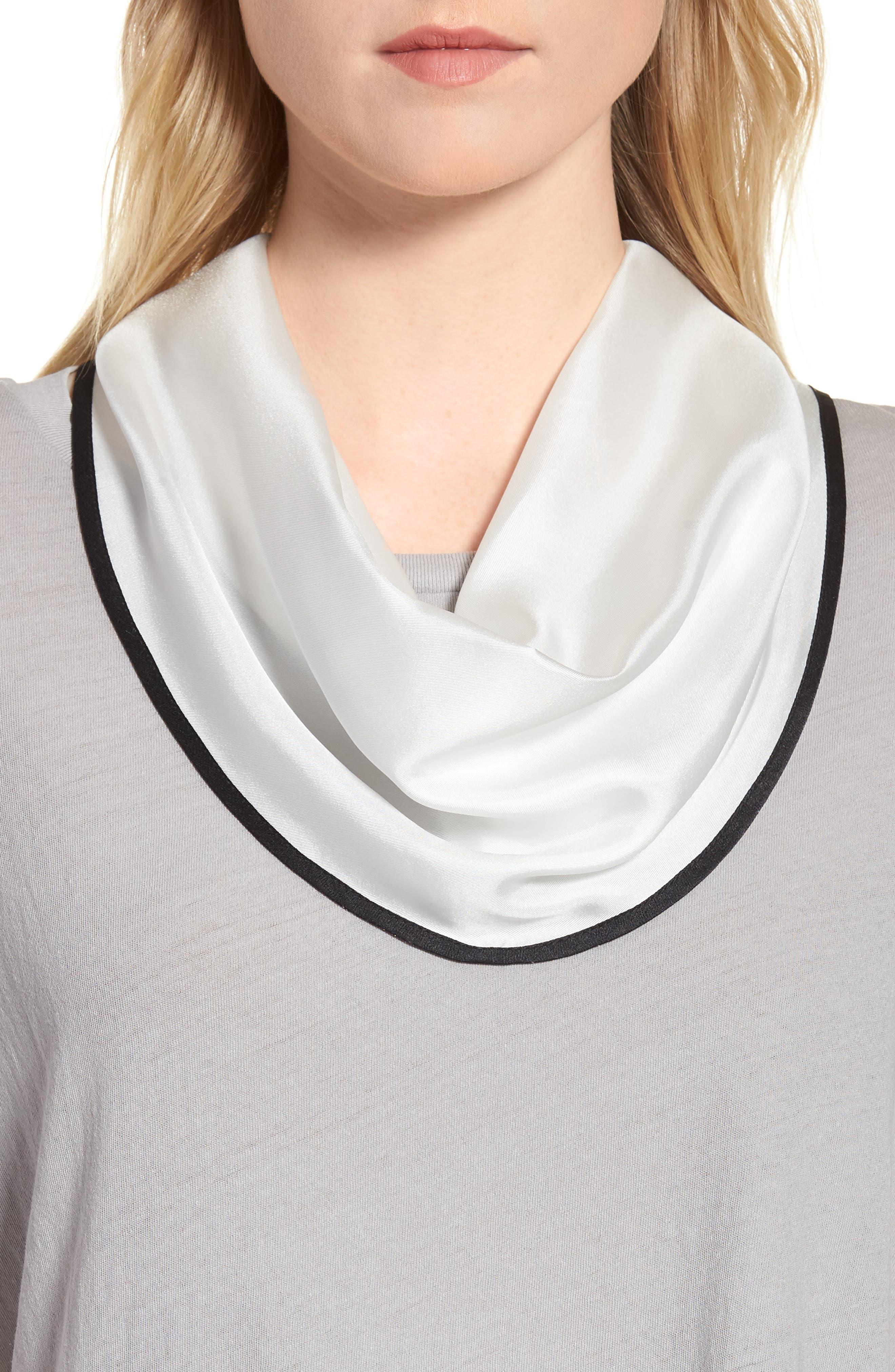 Contrast Edge Diamond Cut Silk Scarf,                         Main,                         color, White
