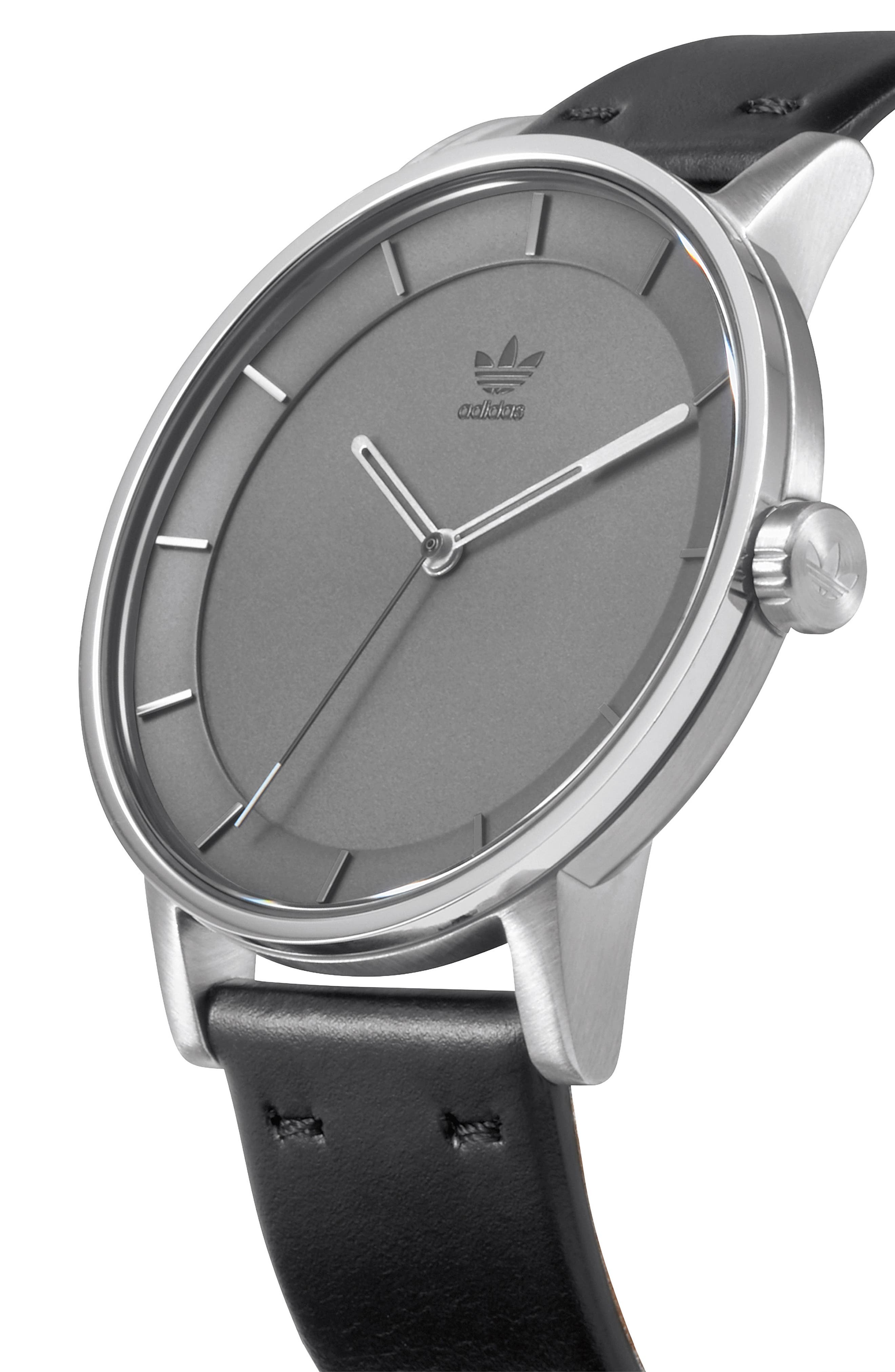 District Leather Strap Watch, 40mm,                             Alternate thumbnail 4, color,                             Black/ Charcoal/ Silver
