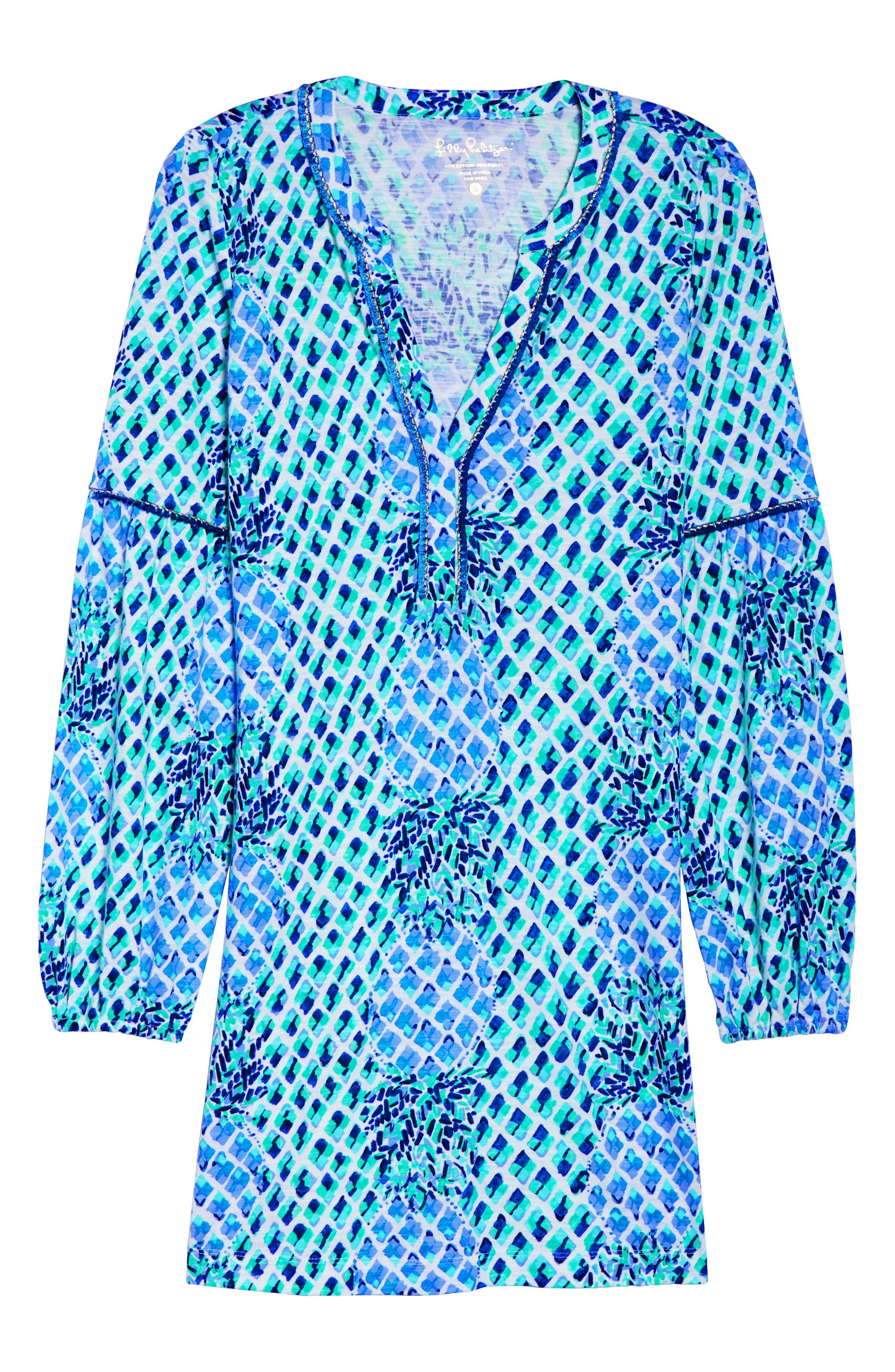 Joy Tunic Dress,                             Alternate thumbnail 6, color,                             Resort White Toe In