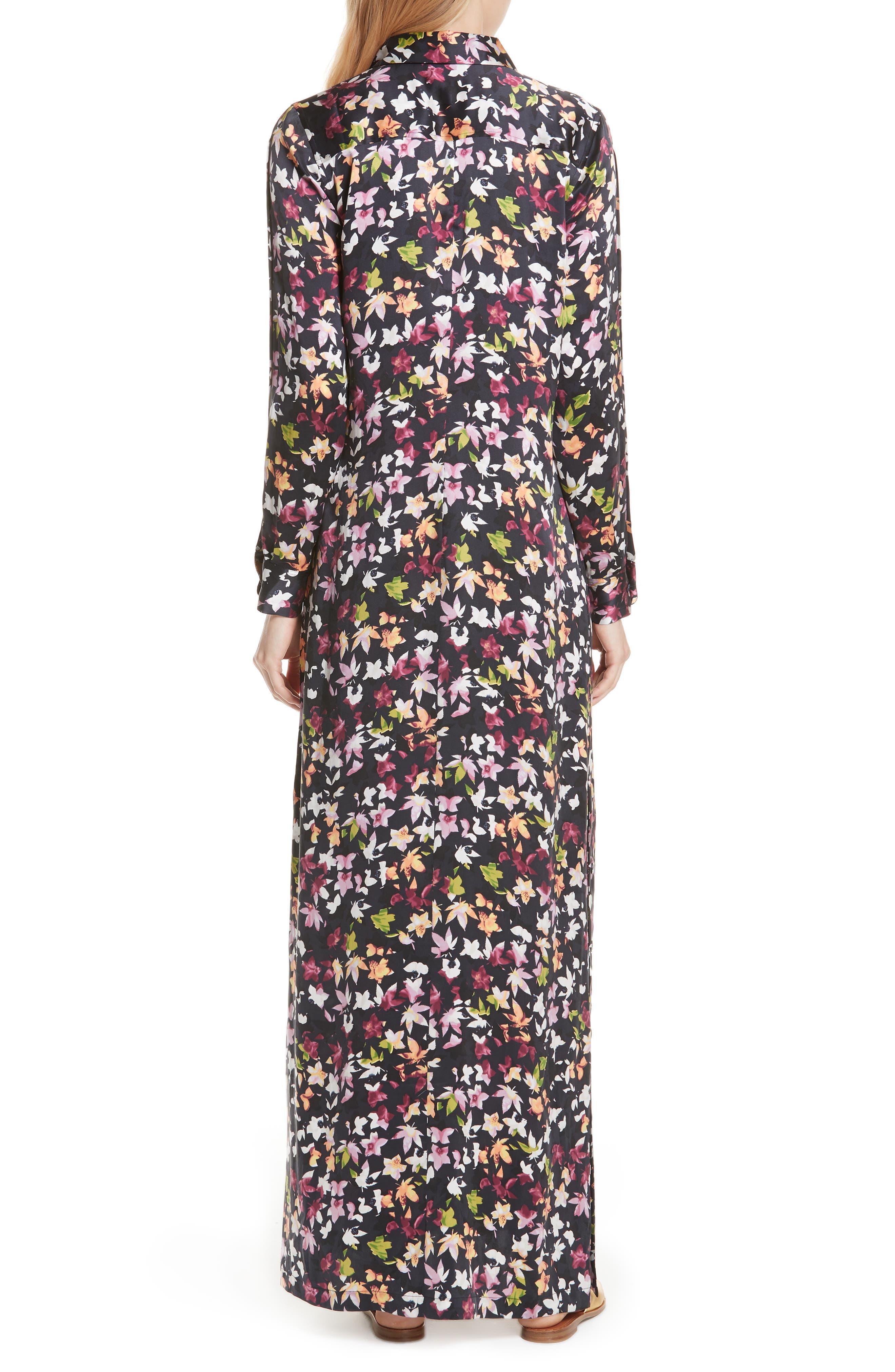 Simone Floral Silk Button Sleeve Maxi Dress,                             Alternate thumbnail 2, color,                             Eclipse Multi