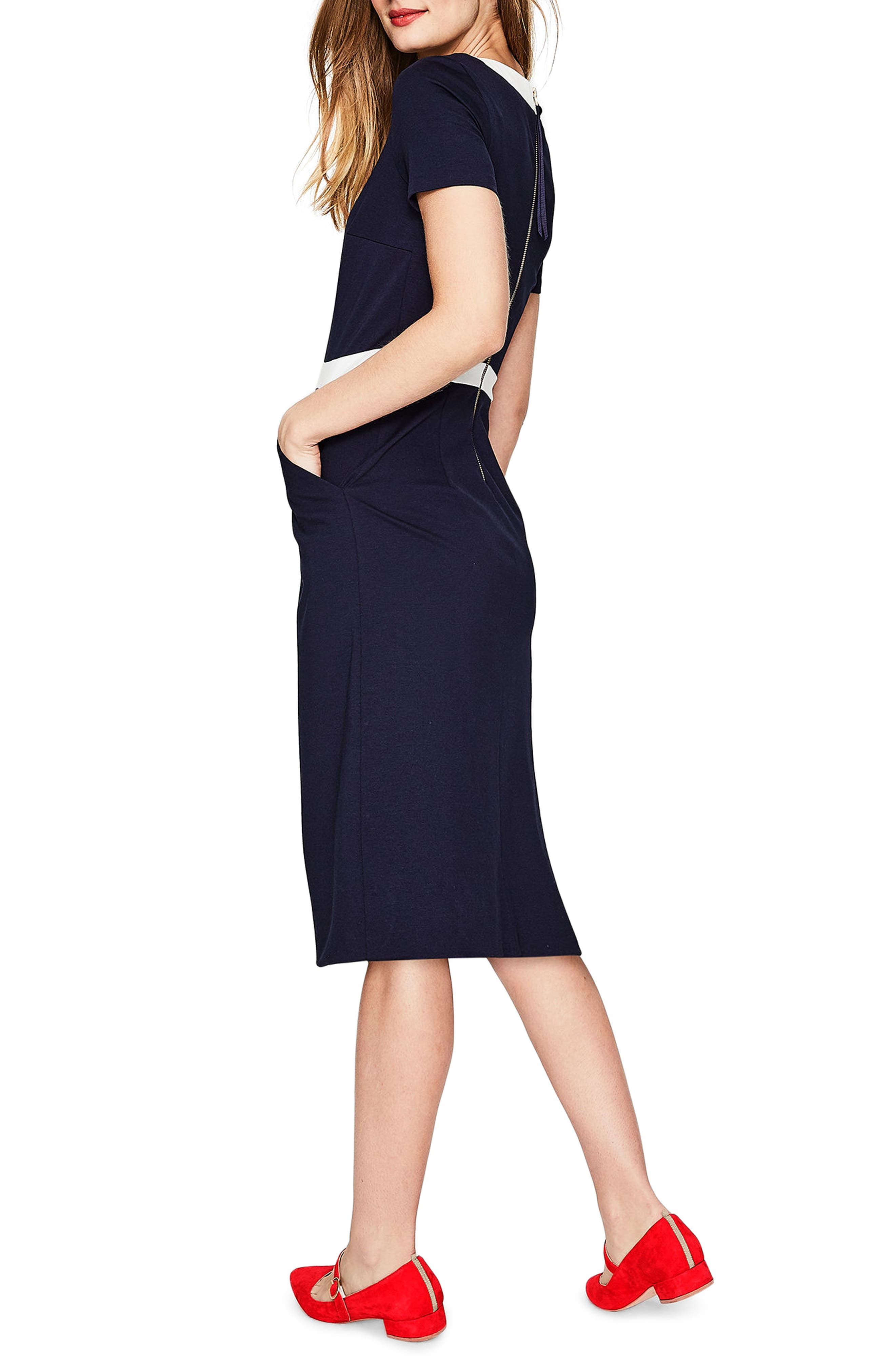Colorblock A-Line Dress,                             Alternate thumbnail 4, color,                             Navy/ Ivory