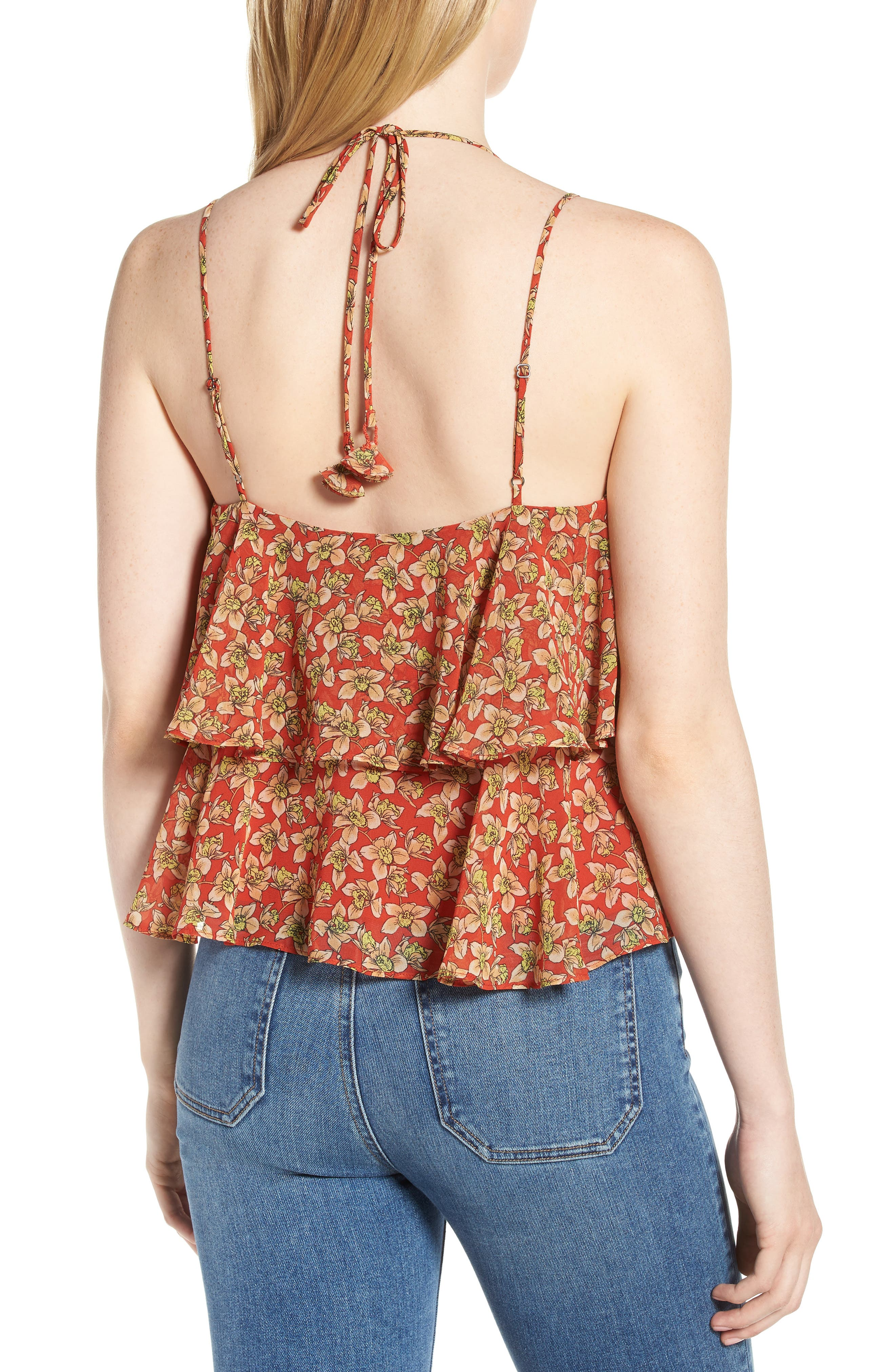 Cynthia Floral Tiered Top,                             Alternate thumbnail 2, color,                             Red Multi