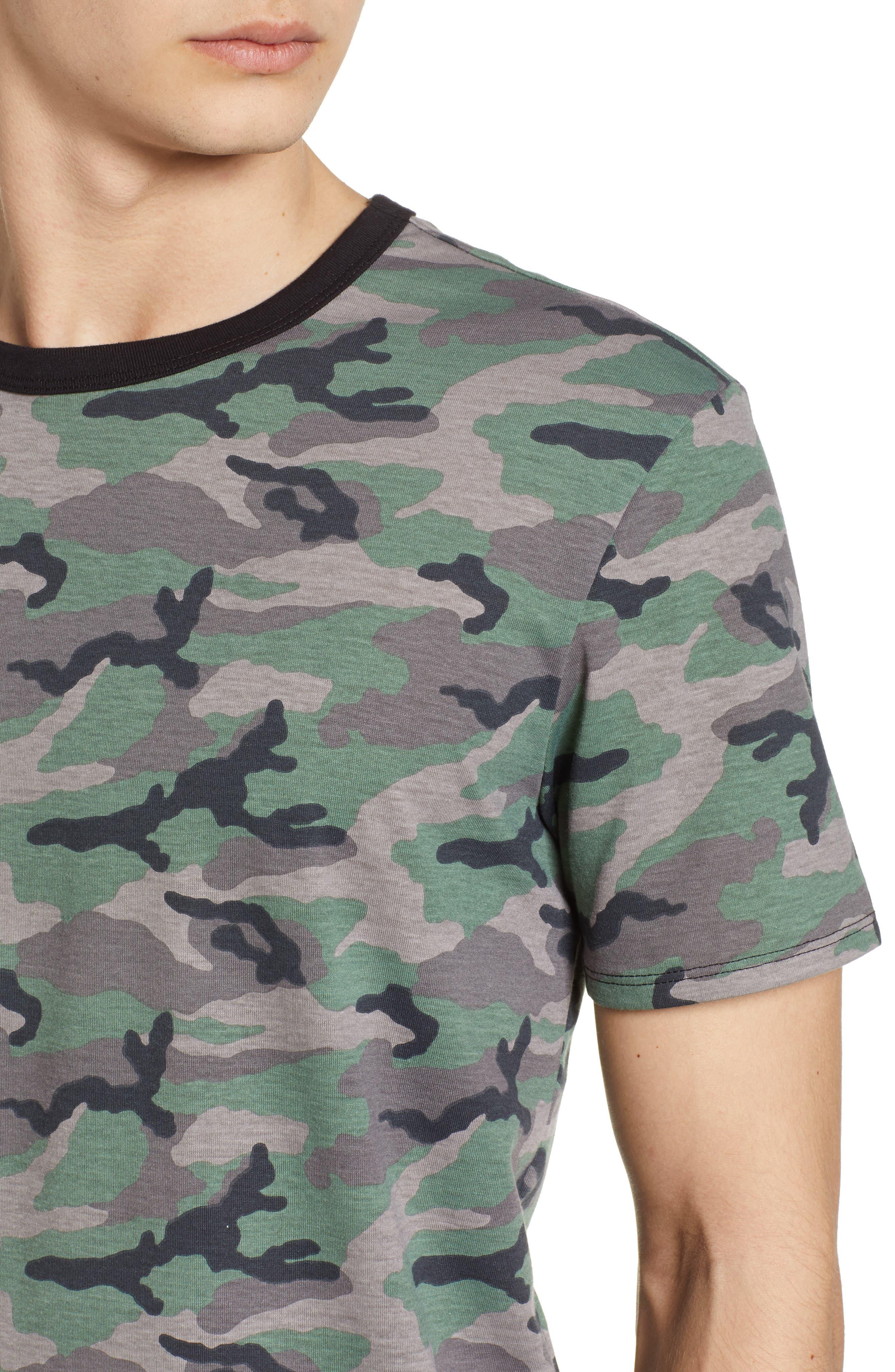 Camo Print Ringer T-Shirt,                             Alternate thumbnail 4, color,                             Brown Green Camo