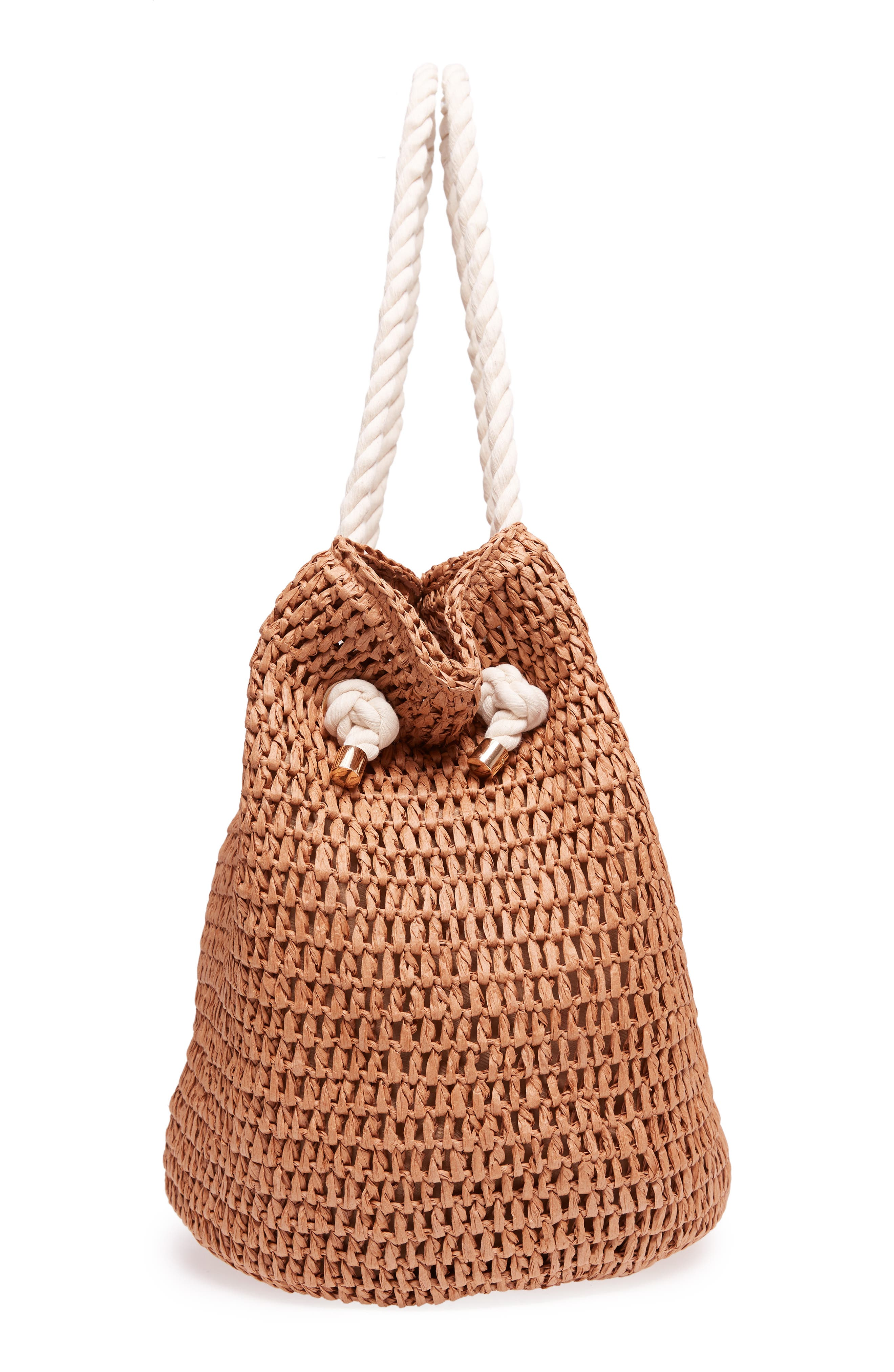 Mama Straw Bucket Bag,                             Alternate thumbnail 5, color,                             Toffee