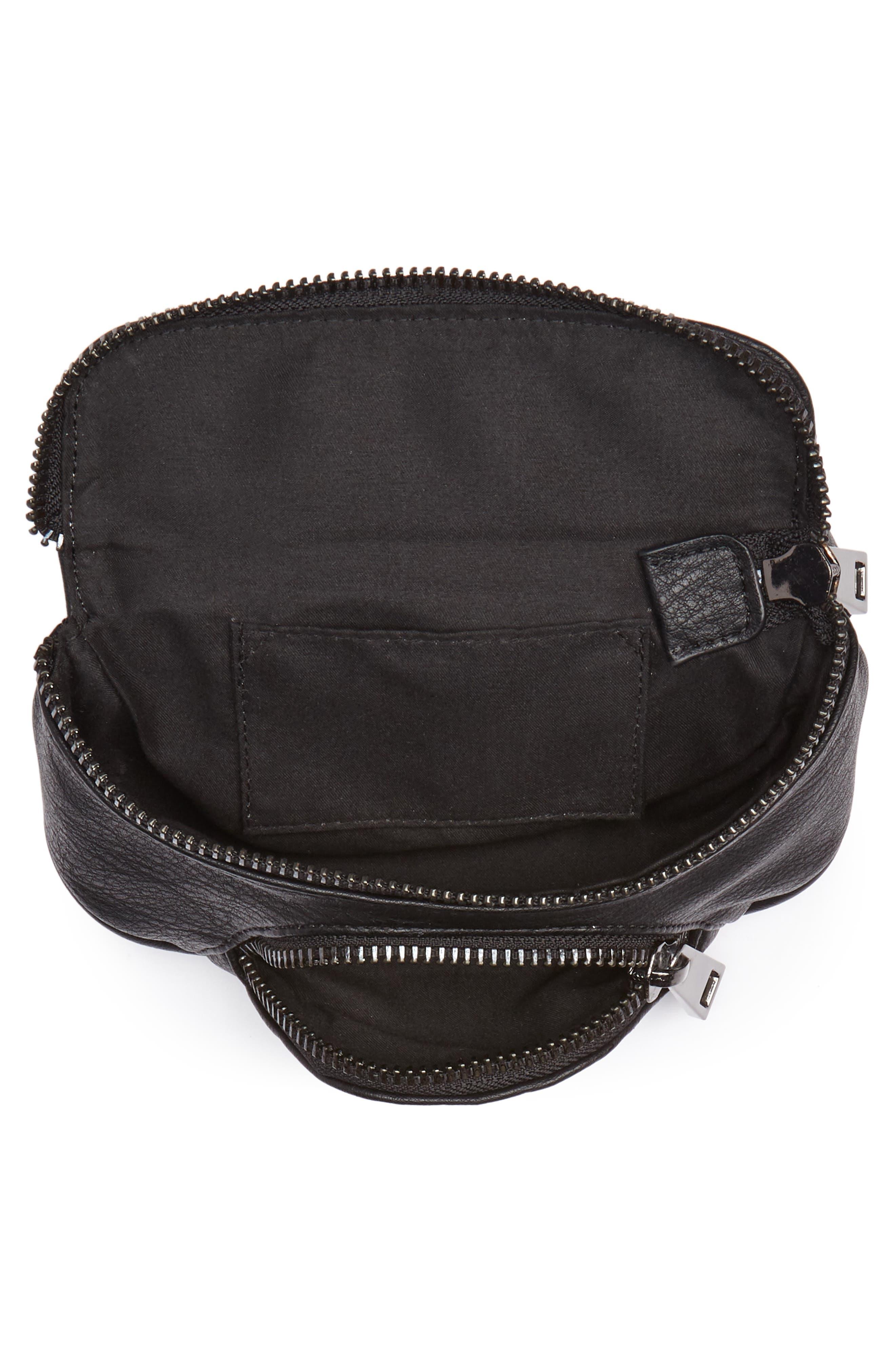 Faux Leather Belt Bag,                             Alternate thumbnail 5, color,                             Black