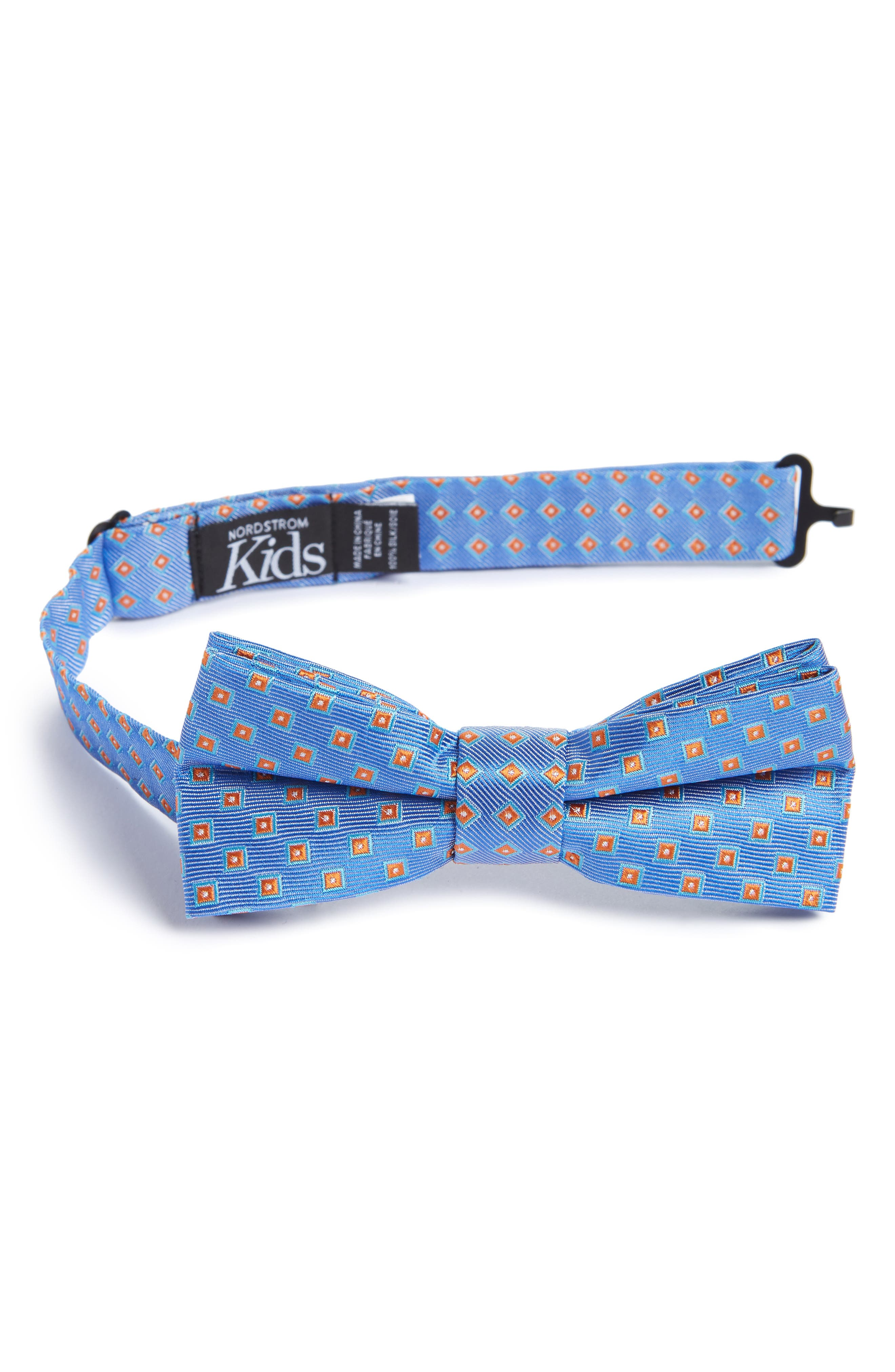 Piazza Geometric Silk Bow Tie,                             Main thumbnail 1, color,                             Blue