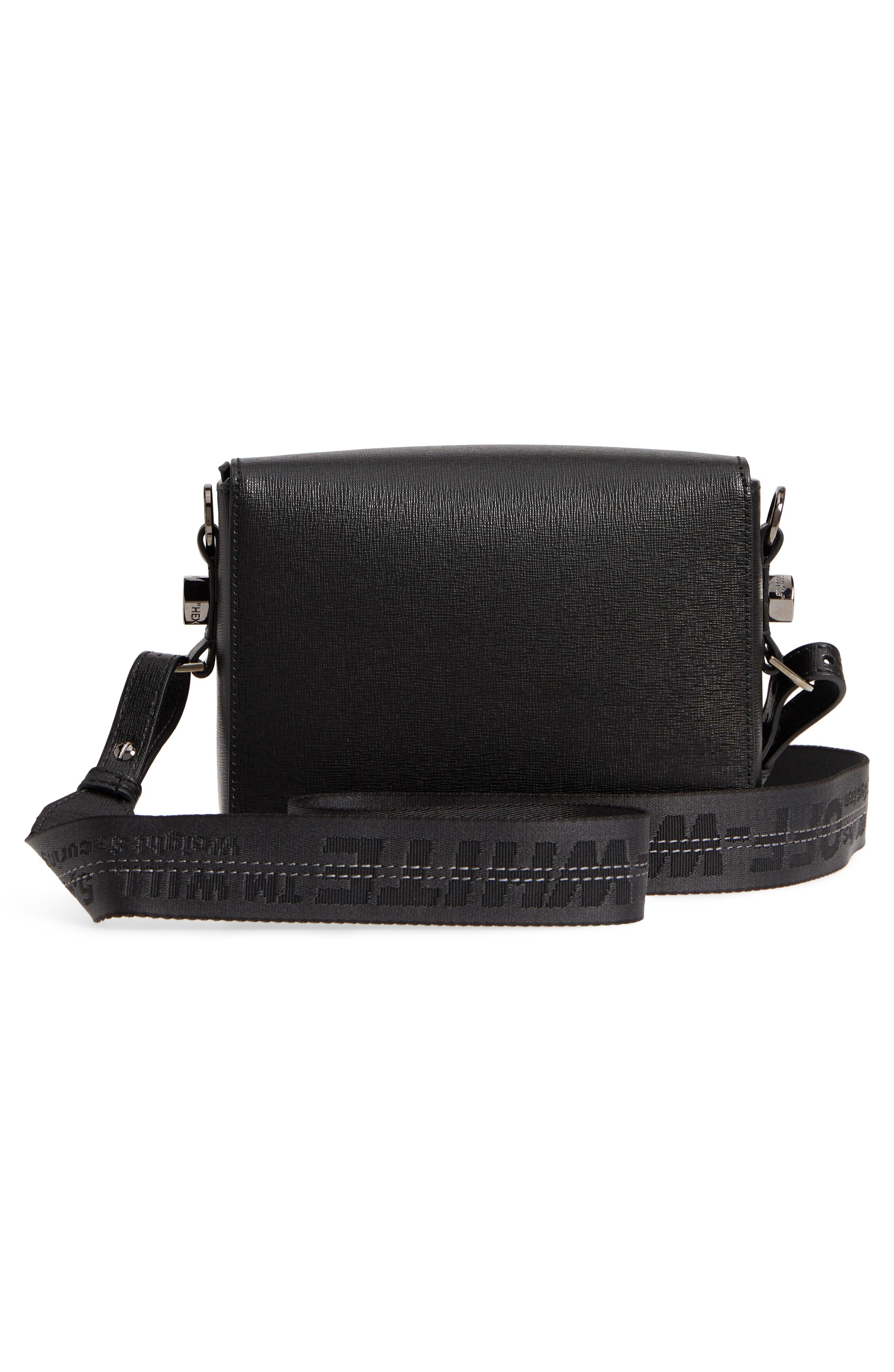 Binder Clip Leather Flap Bag,                             Alternate thumbnail 4, color,                             Black