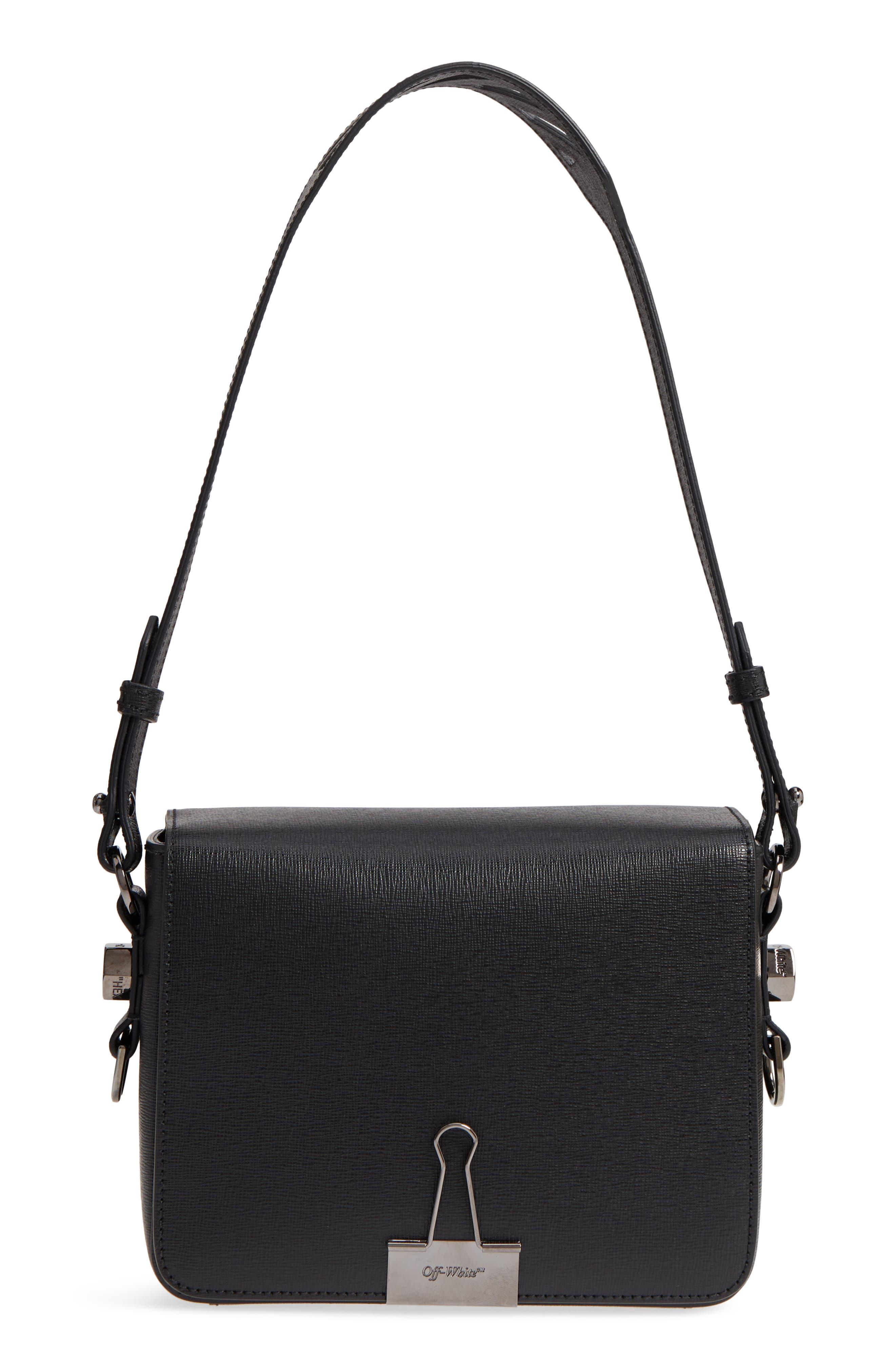 Binder Clip Leather Flap Bag,                             Alternate thumbnail 3, color,                             Black