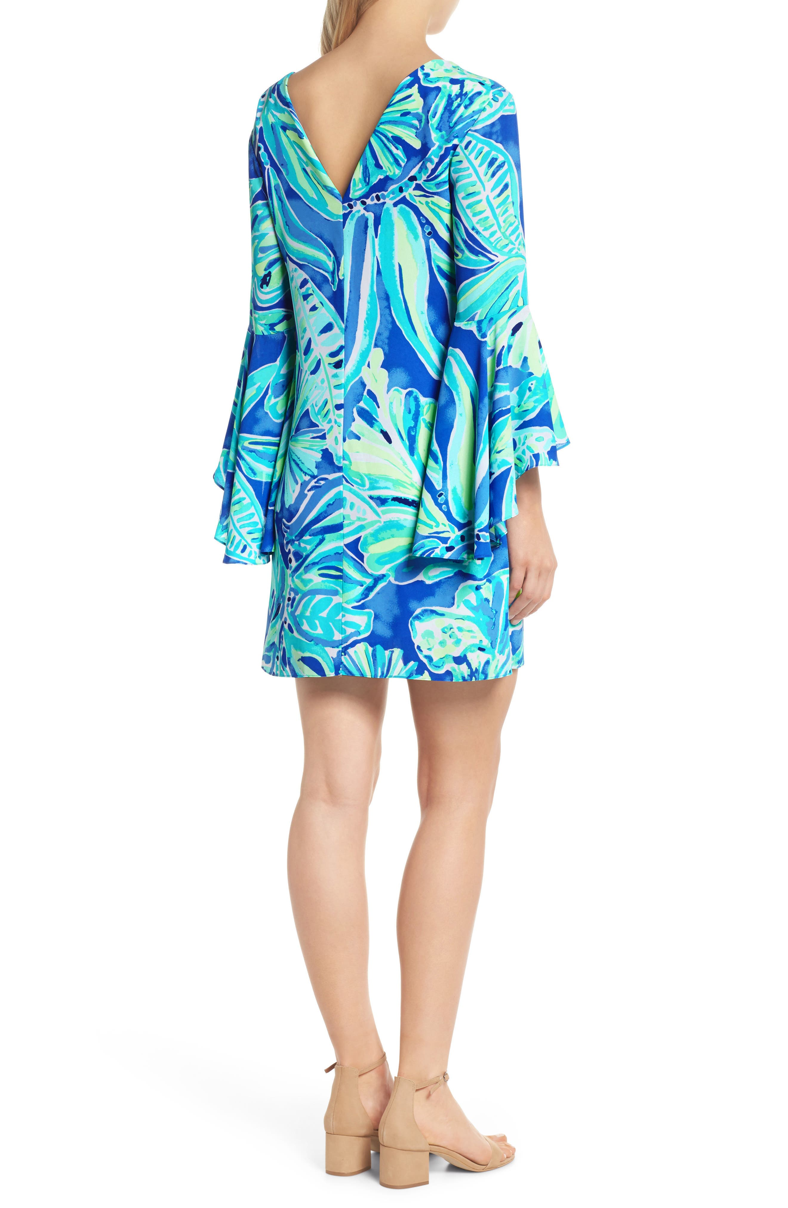 Rosalia Bell Sleeve Shift Dress,                             Alternate thumbnail 2, color,                             Beckon Blue Palm Passage