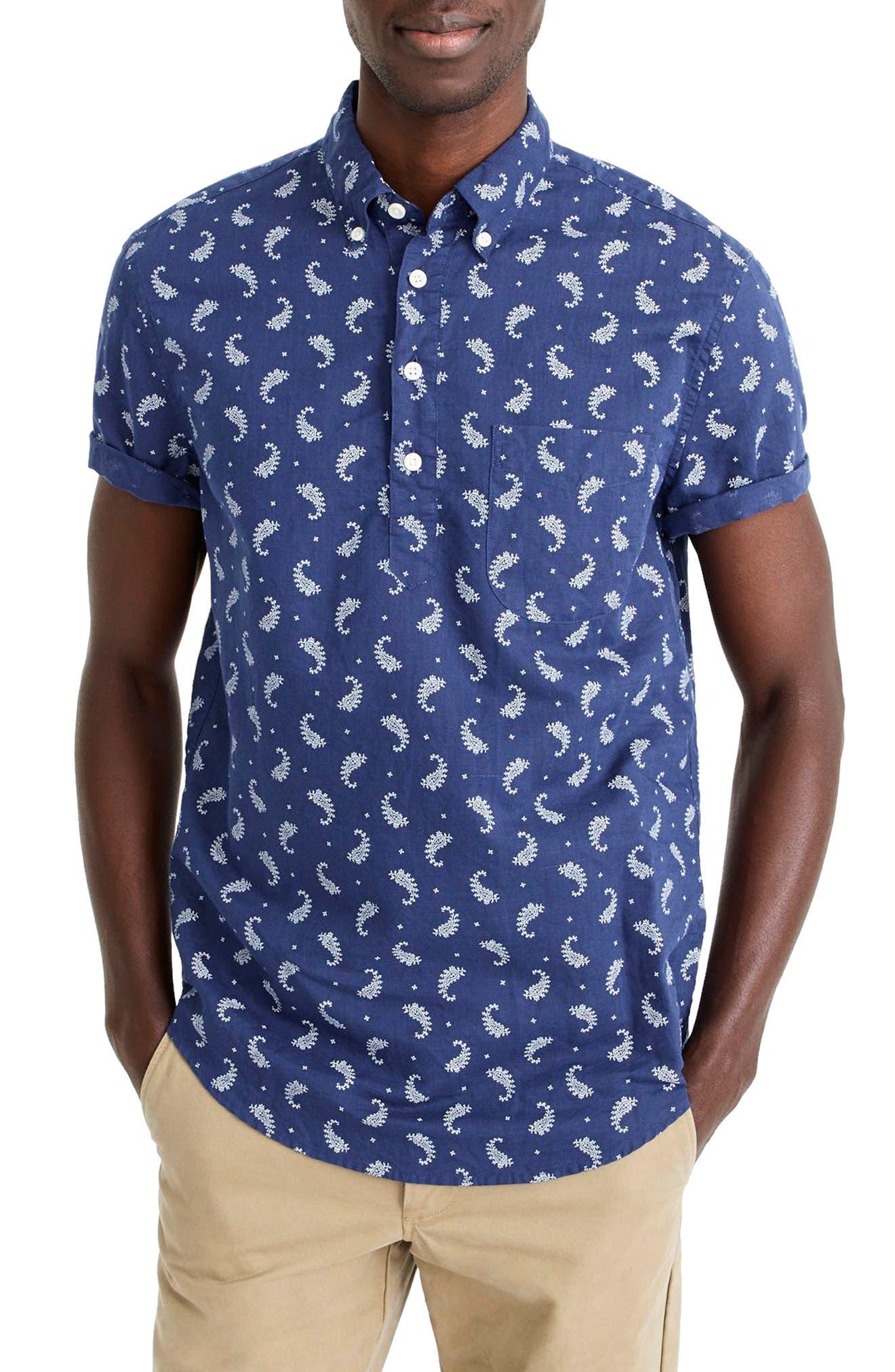 Short Sleeve Paisley Linen & Cotton Popover Shirt,                         Main,                         color, Indigo Bandana