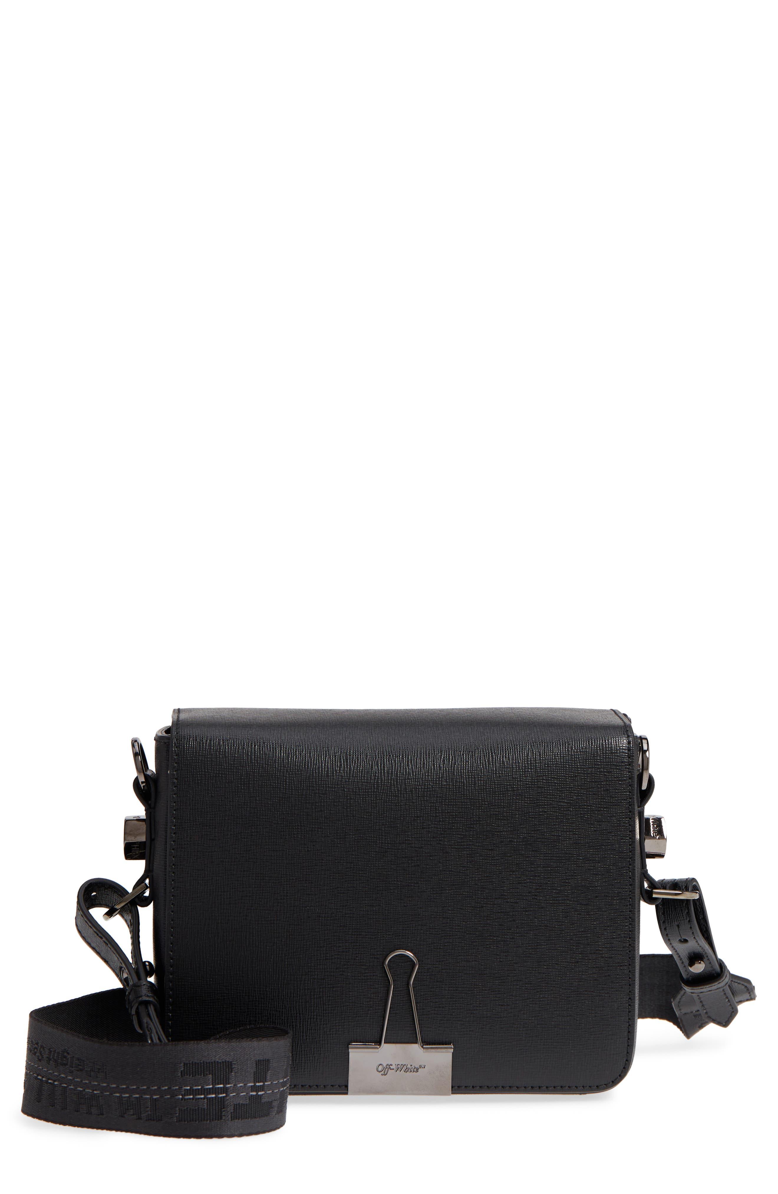 Binder Clip Leather Flap Bag,                             Main thumbnail 1, color,                             Black