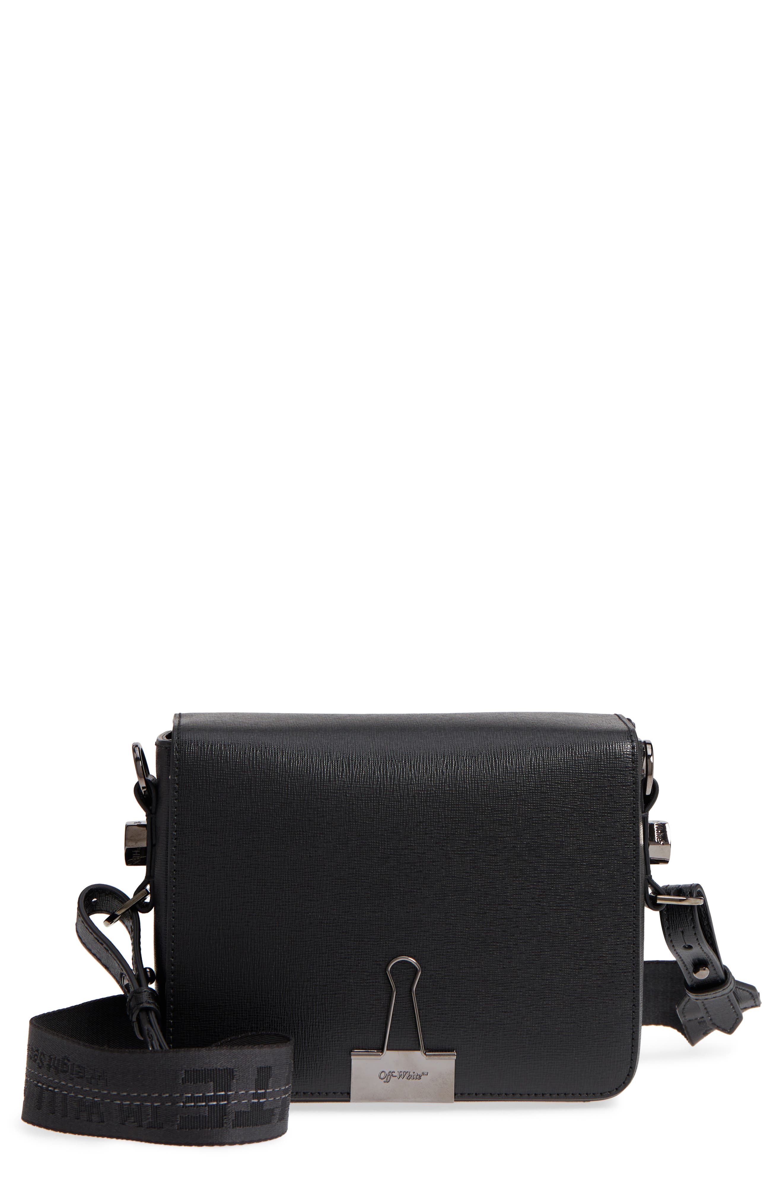 Binder Clip Leather Flap Bag,                         Main,                         color, Black
