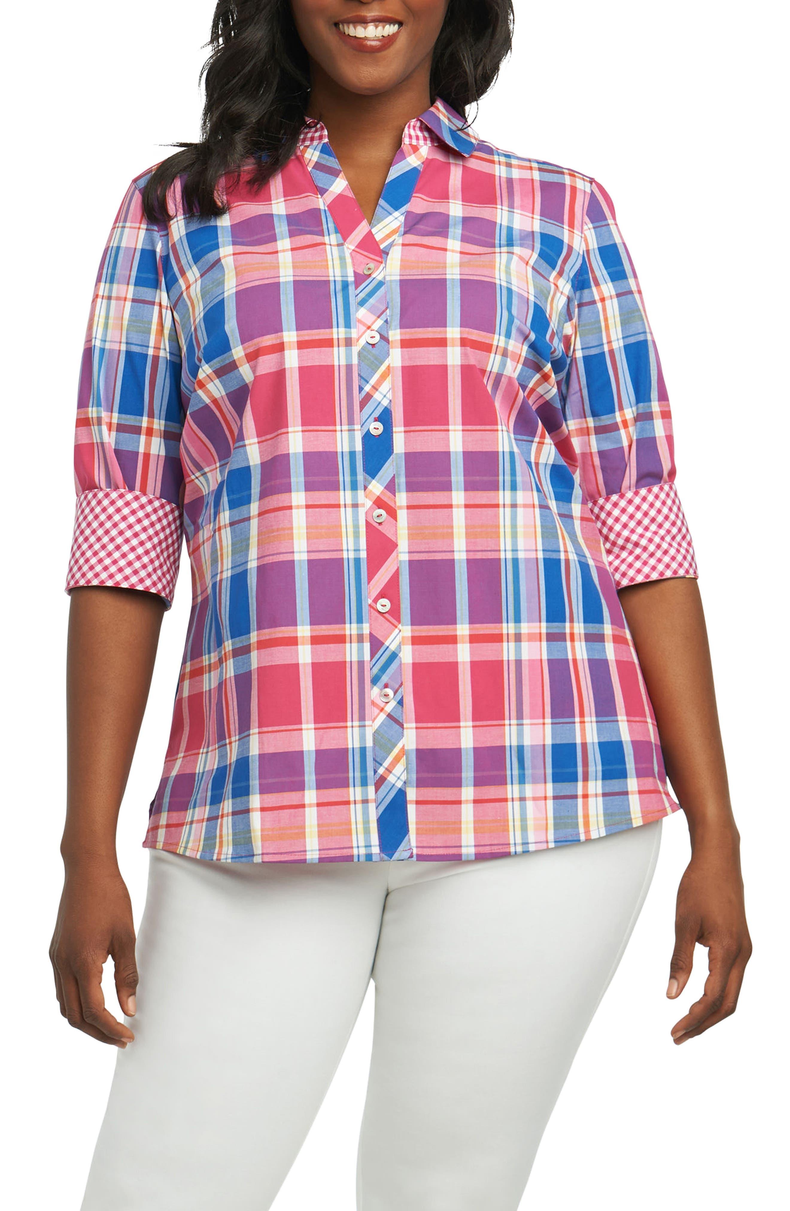 Foxcroft Mary Madras Plaid Shirt (Plus Size)