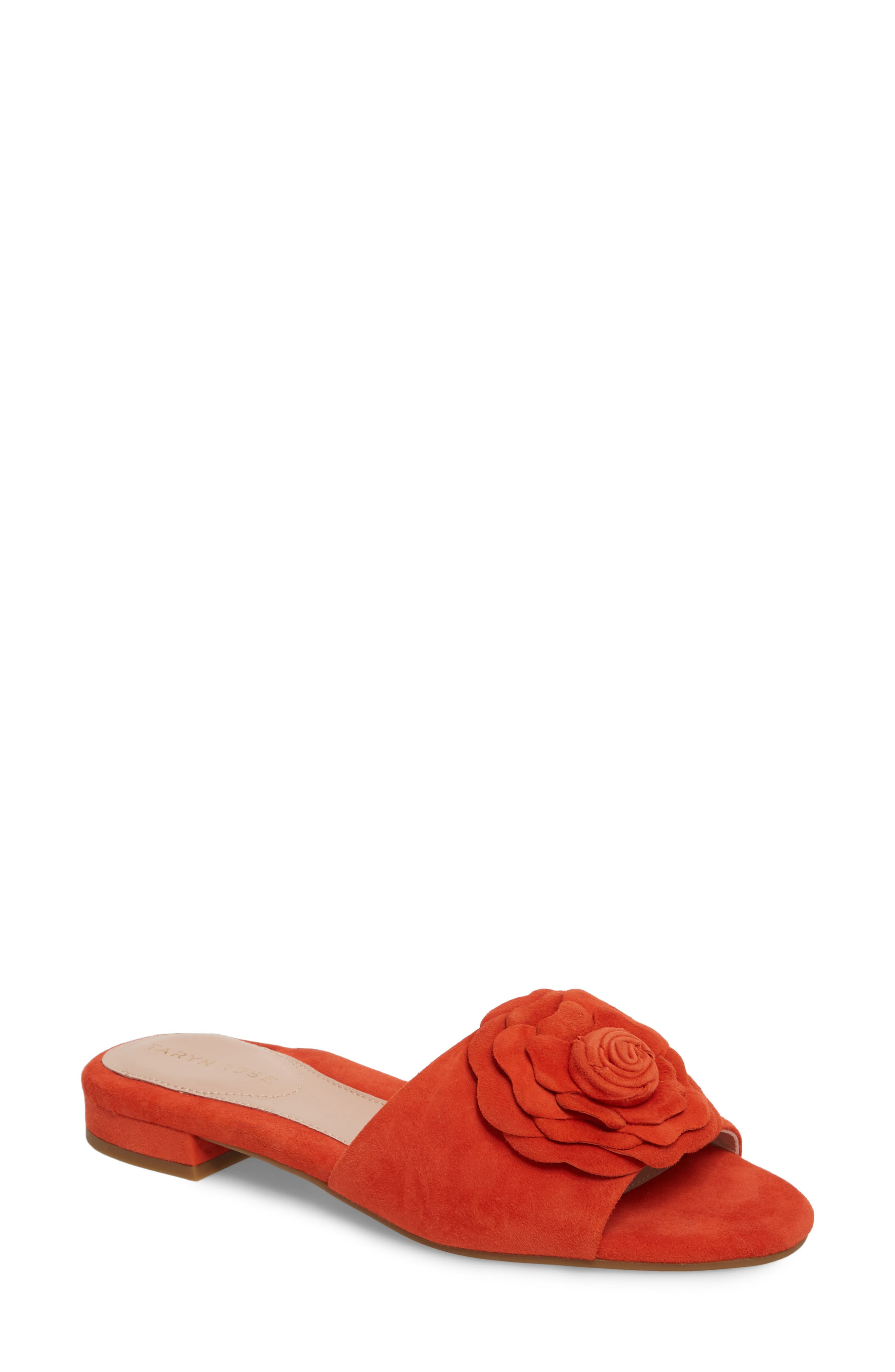 Violet Flower Slide Sandal,                             Main thumbnail 1, color,                             Poppy Suede