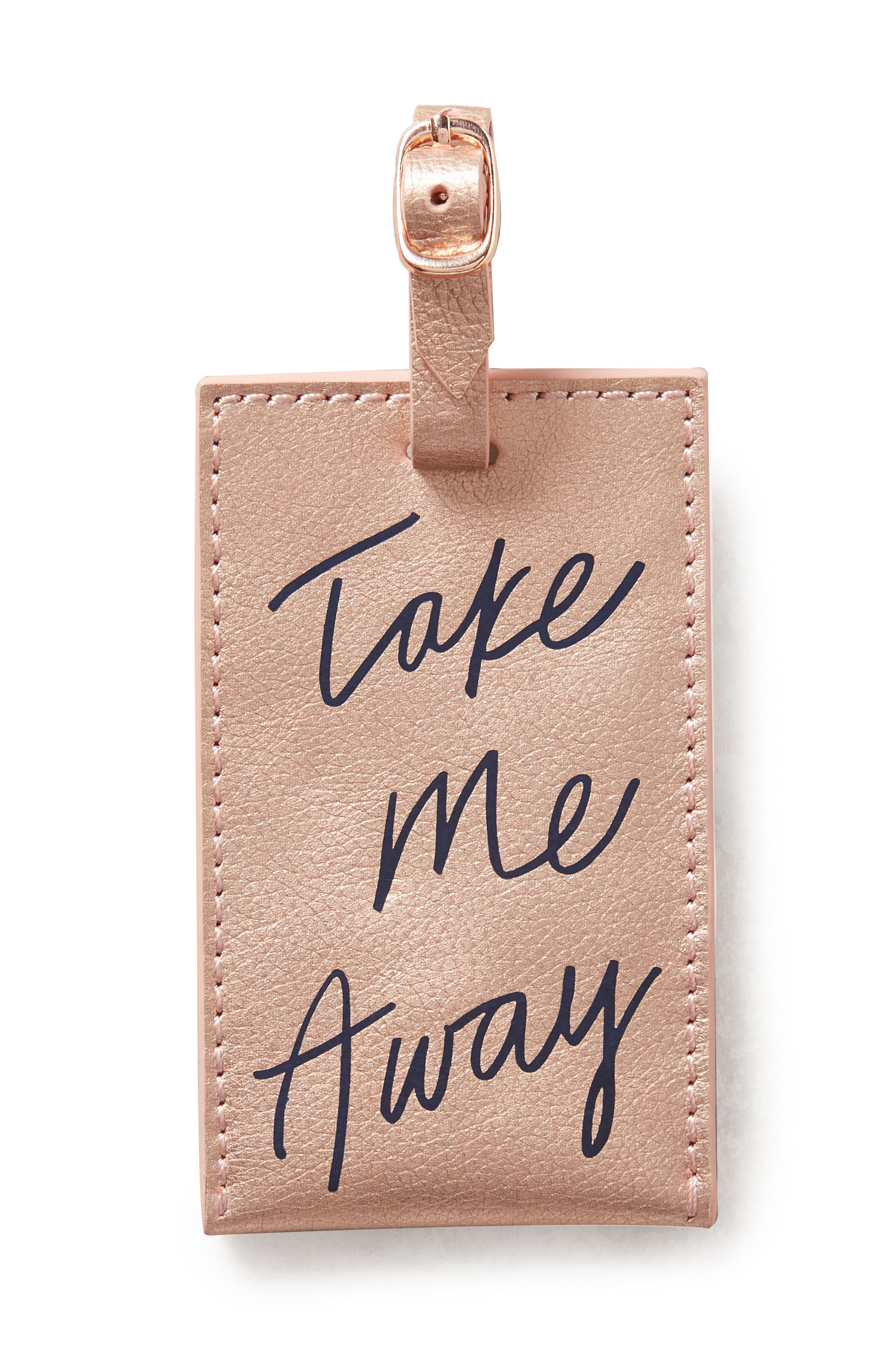 Take Me Away Leather Luggage Tag,                         Main,                         color, Pink