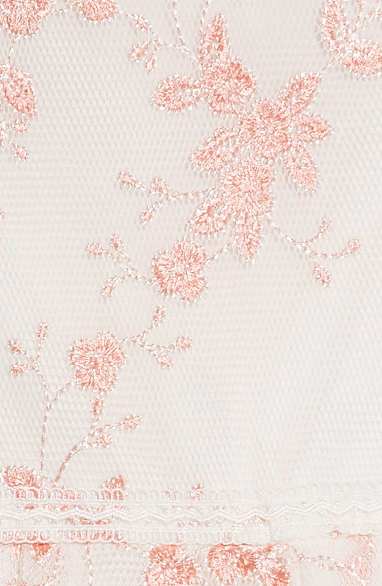 Embroidered Mesh Skater Dress,                             Alternate thumbnail 3, color,                             White/ Coral