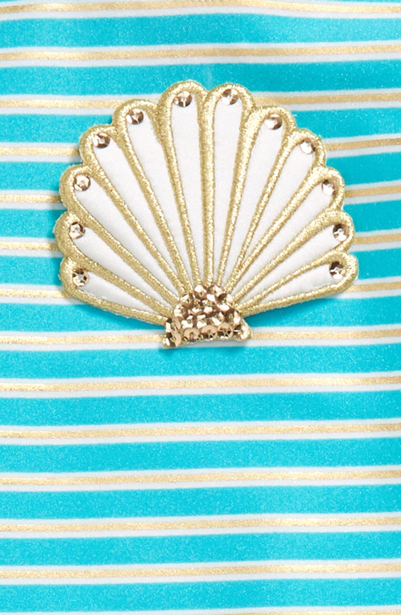 Alternate Image 2  - Love U Lots Seashell Stripe Two-Piece Rashguard Swimsuit (Toddler Girls & Little Girls)