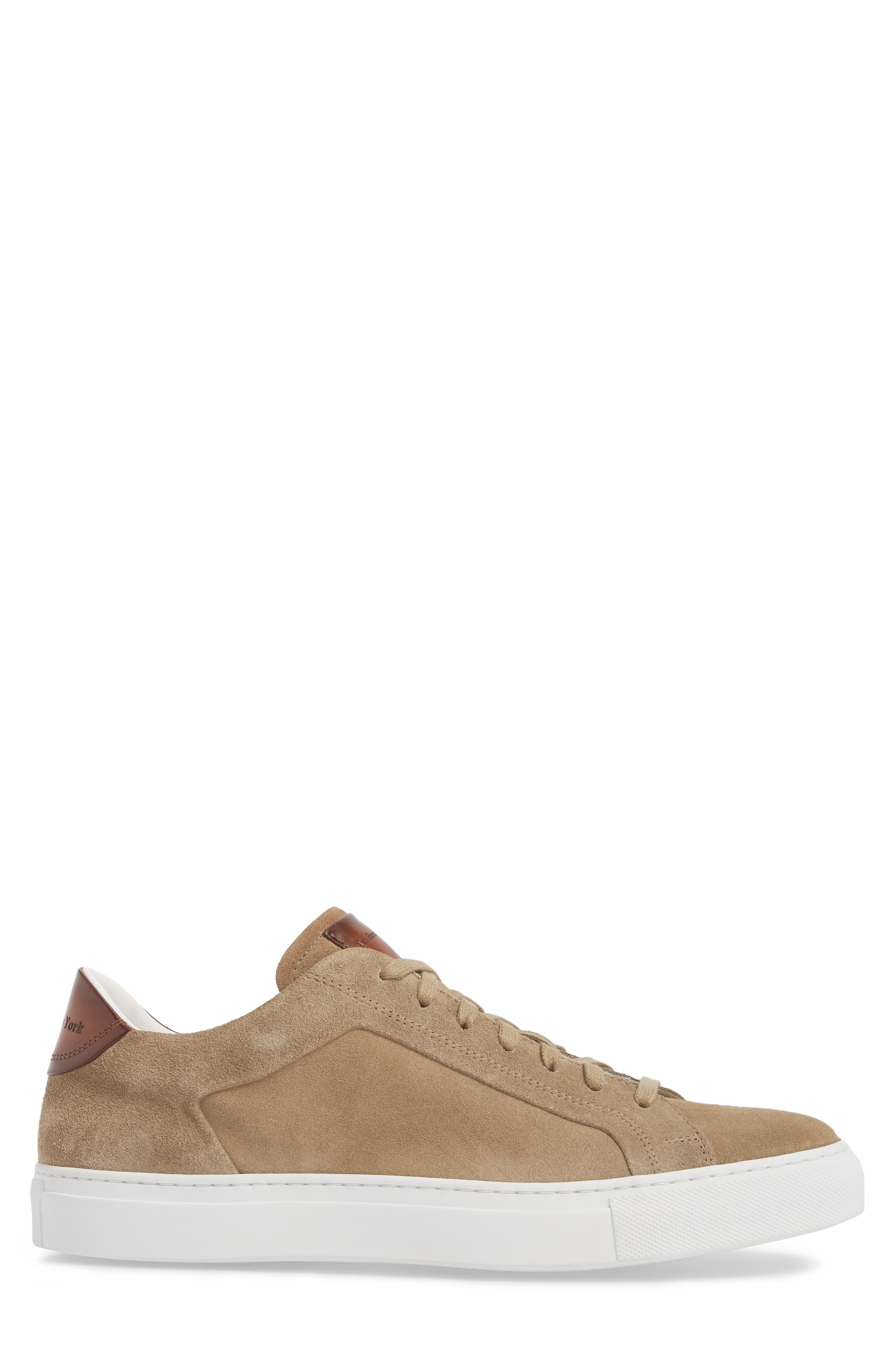 Britt Low Top Sneaker,                             Alternate thumbnail 3, color,                             Tan Suede