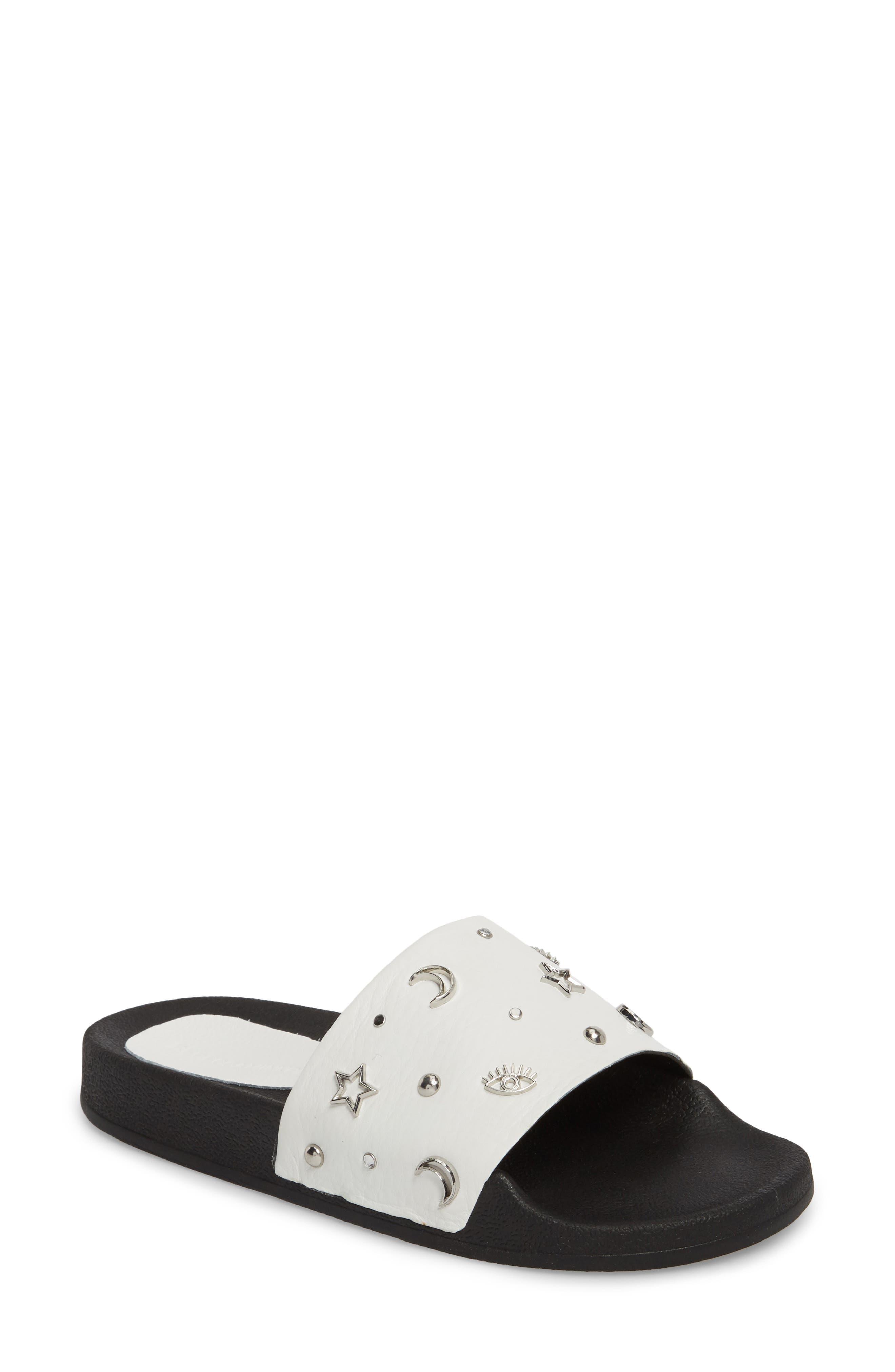Thunder Slide Sandal,                         Main,                         color, White Leather