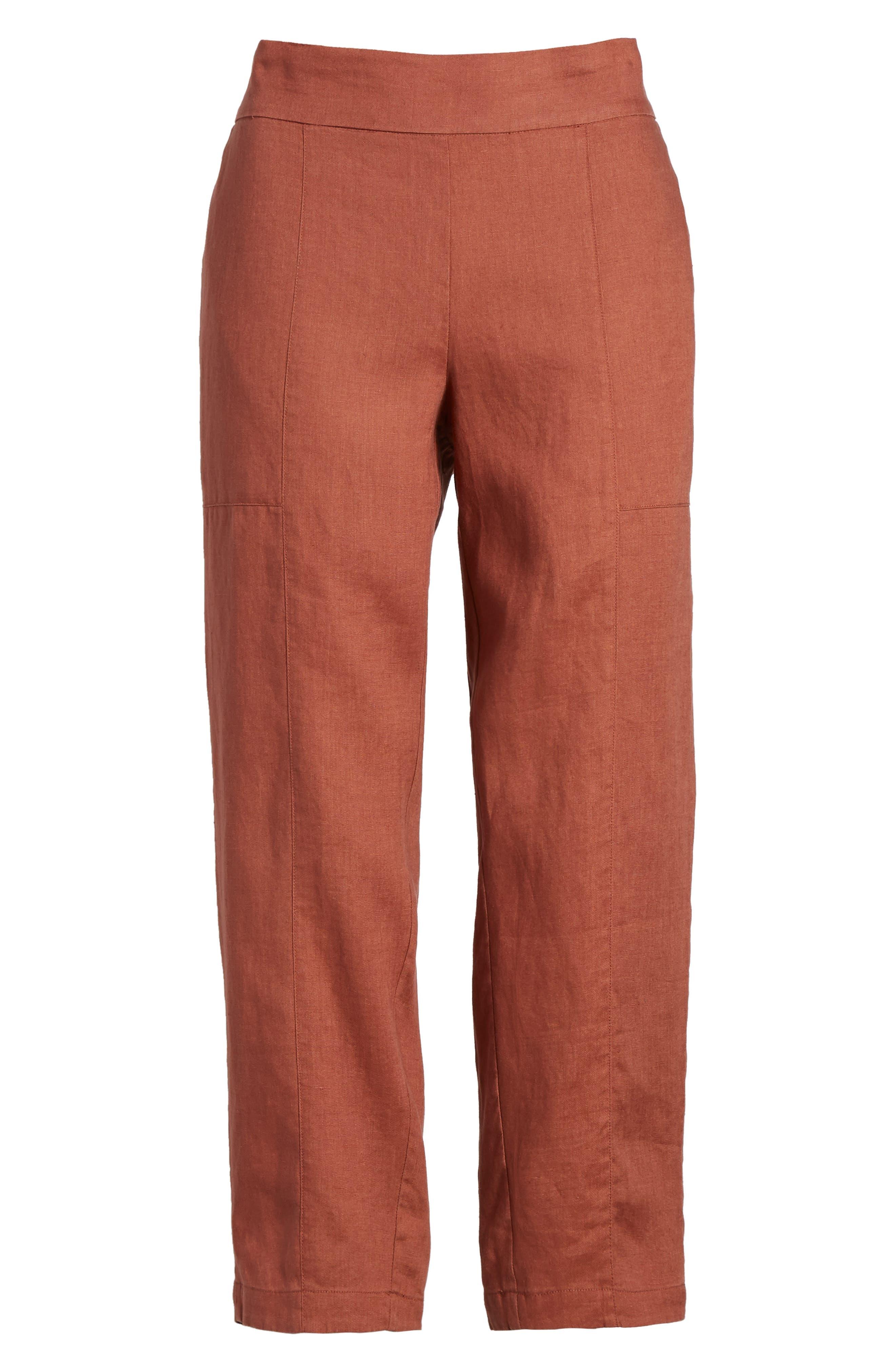 Organic Linen Crop Pants,                             Alternate thumbnail 7, color,                             Russet